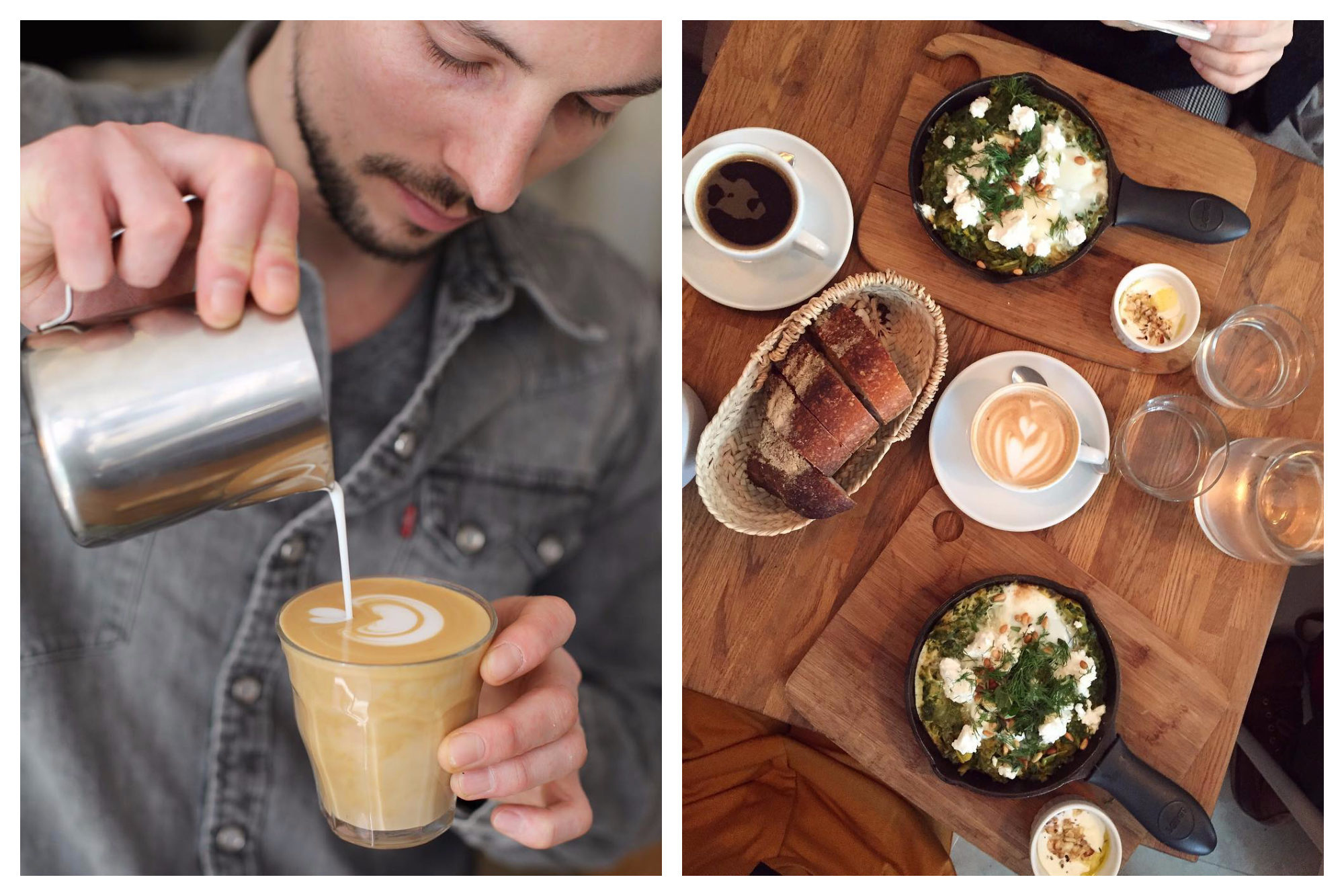 Café Méricourt is also a great place for co-working in Paris thanks to the delicious coffee (left) and signature shakshuka dishes (right).