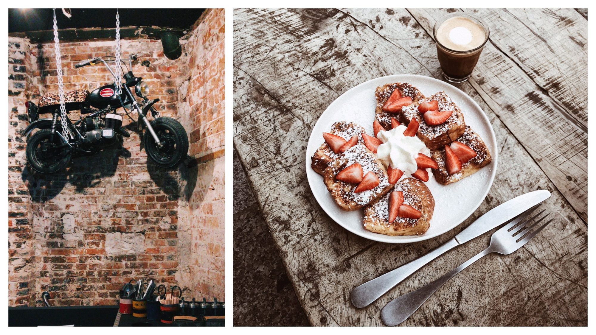Motors coffee shop is a great place for co-working in Paris as the Californian-inspired décor makes for a refreshing change (left) and it also serves tasty fruit toasts (right).