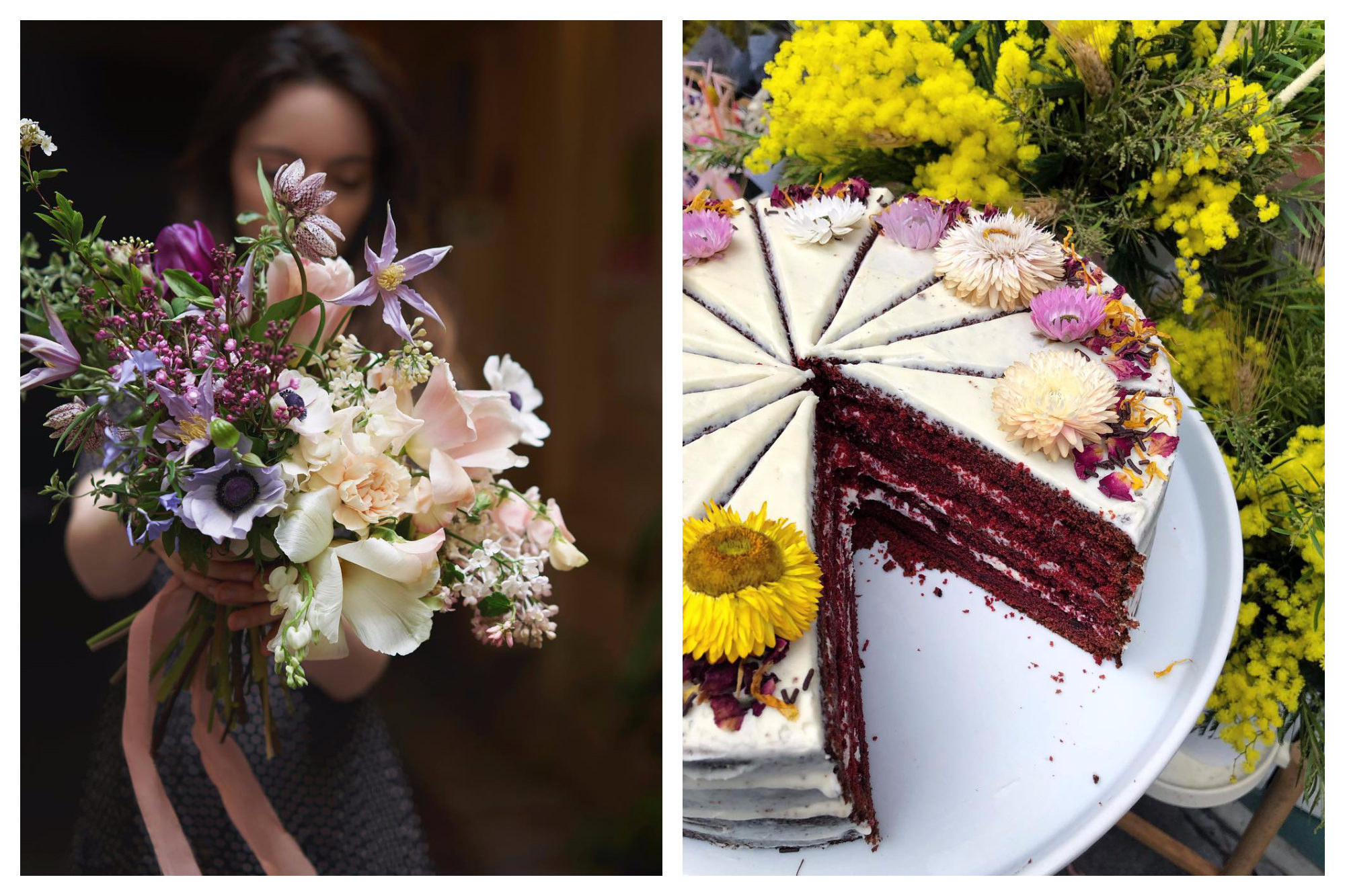 Peonies café in Paris is a great place to work as it's pleasant to be surrounded by bucolic bunches of flowers (left) and to be able to dig into delicious cakes (right).