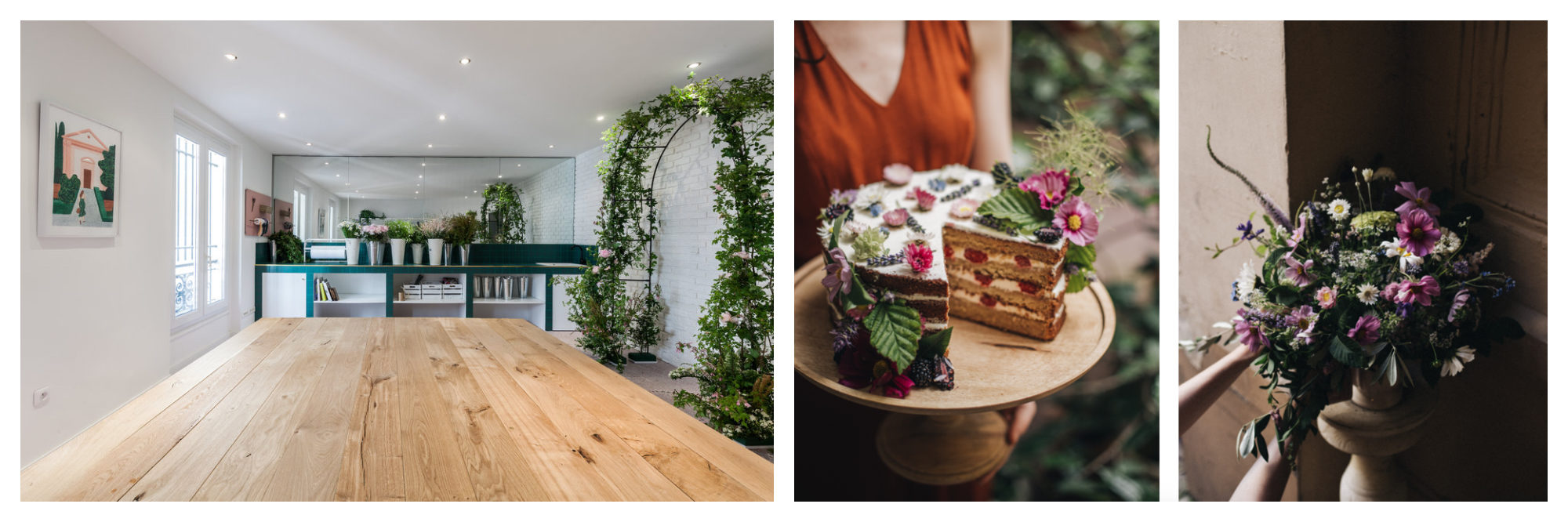 Alternative co-working spaces in Paris include Peonies coffee shop for its soothing flowery decor (left) and flower creations (right).