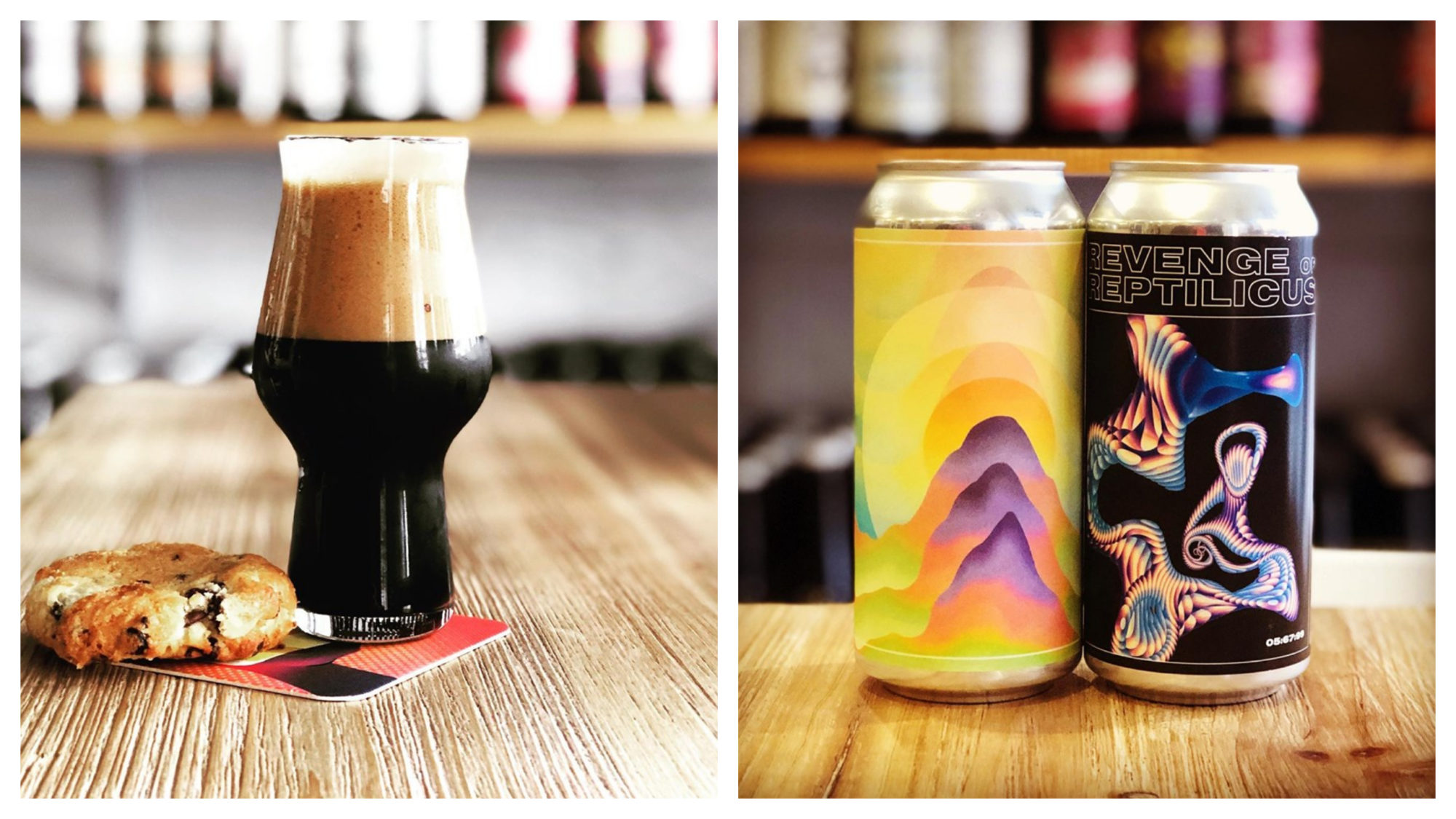 A glass of lager beer with a cookie on a wooden counter (left). Two cans of craft beer with psychedelic designs (right).