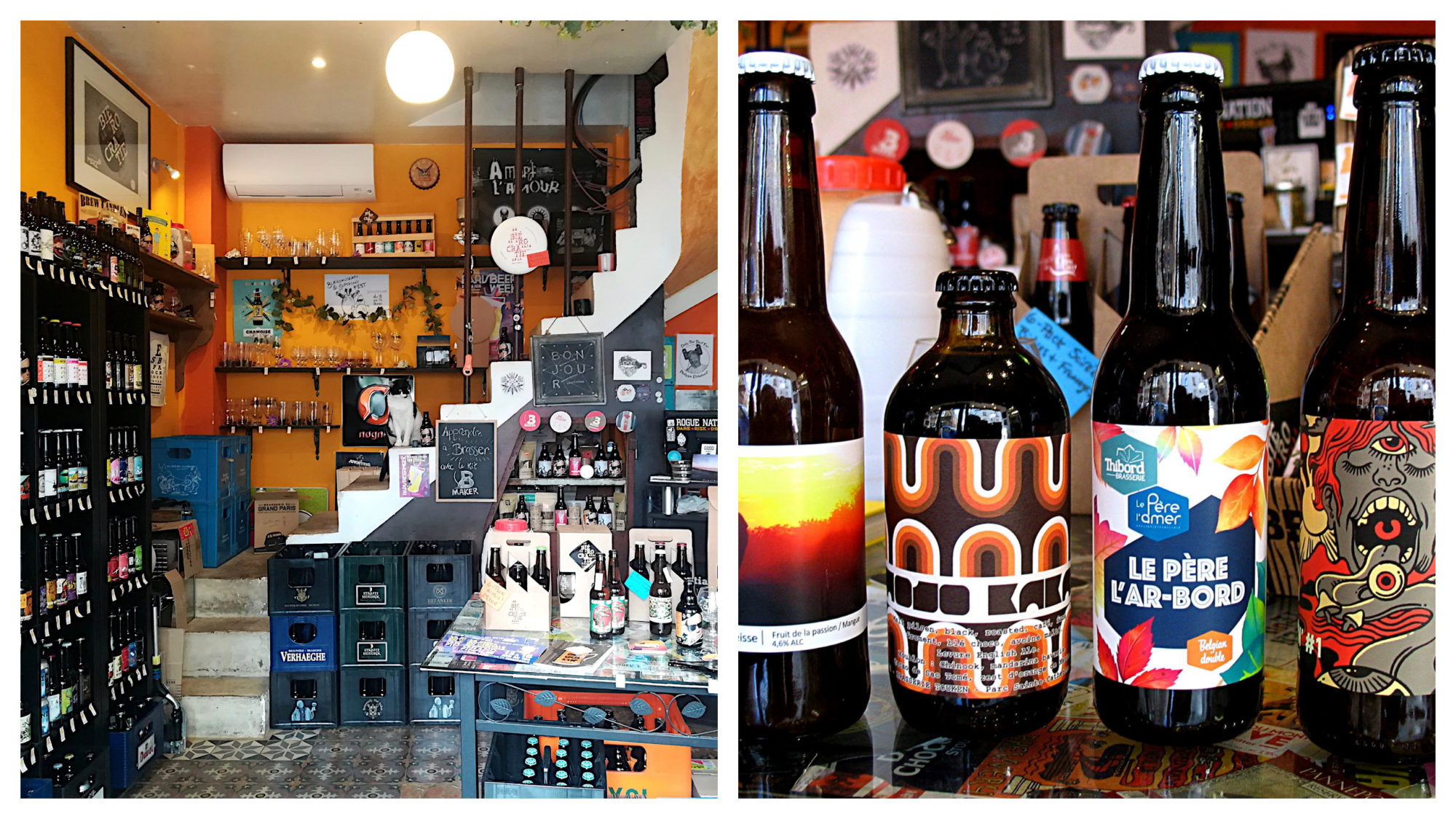 Inside craft beer shop in Paris Biérocratie (left) and a selection of four craft beer bottles (right).
