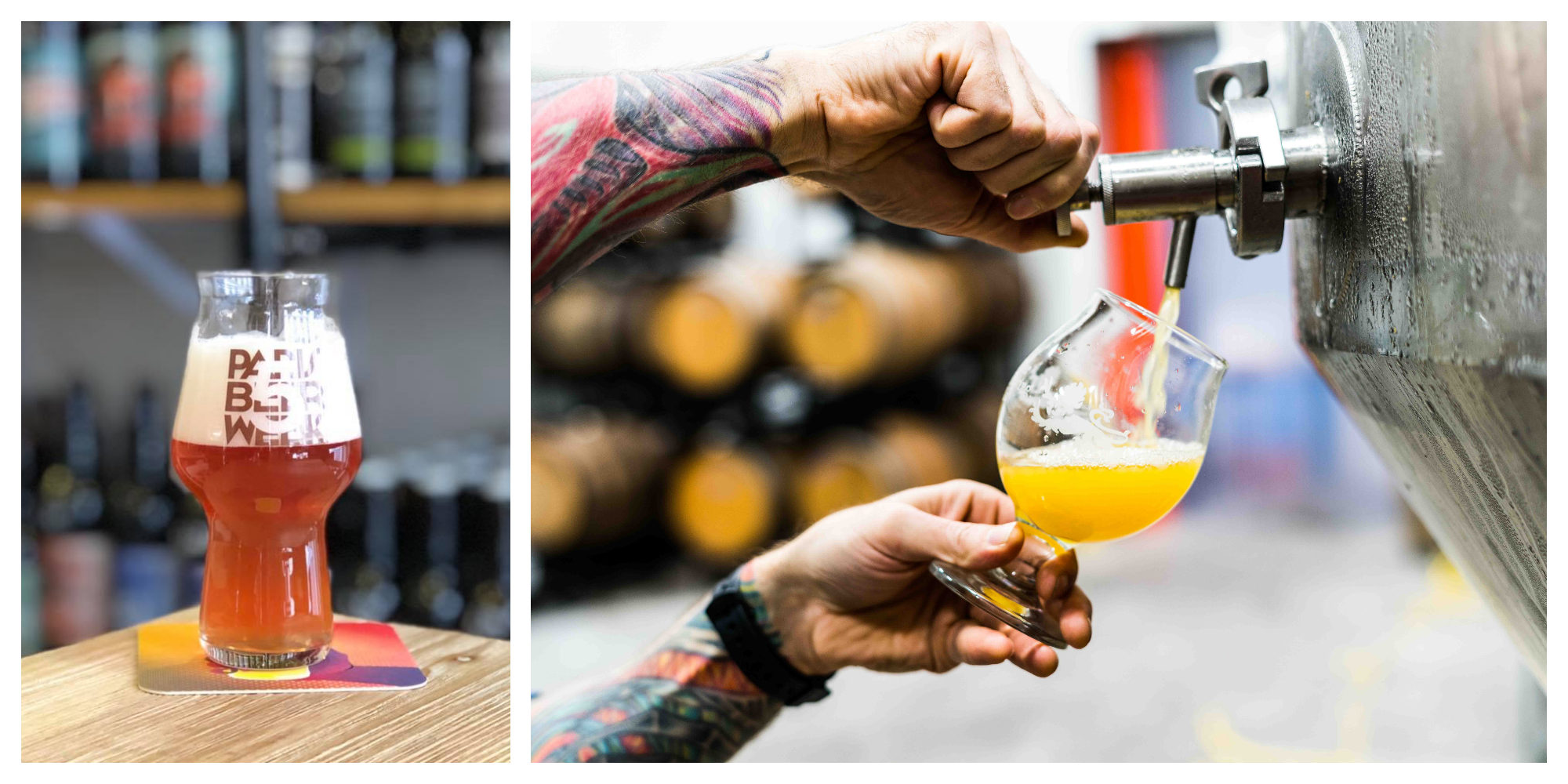 Celebrating Paris Beer Week with a pint of craft beer at Superbières in Paris (left). A tattooed man serving a pint of craft beer from the tap (right).