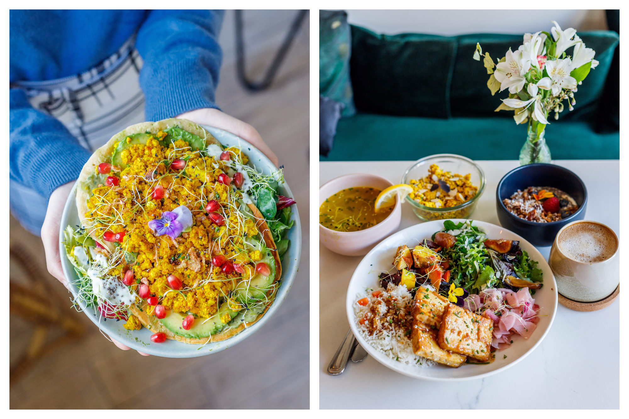 A gorgeous, brightly colored lentil salad being held up by a staff member of Abattoir Végétal gluten-free café in Paris (left) and a brunch of several dishes laid out at Abattoir Végétal (right).