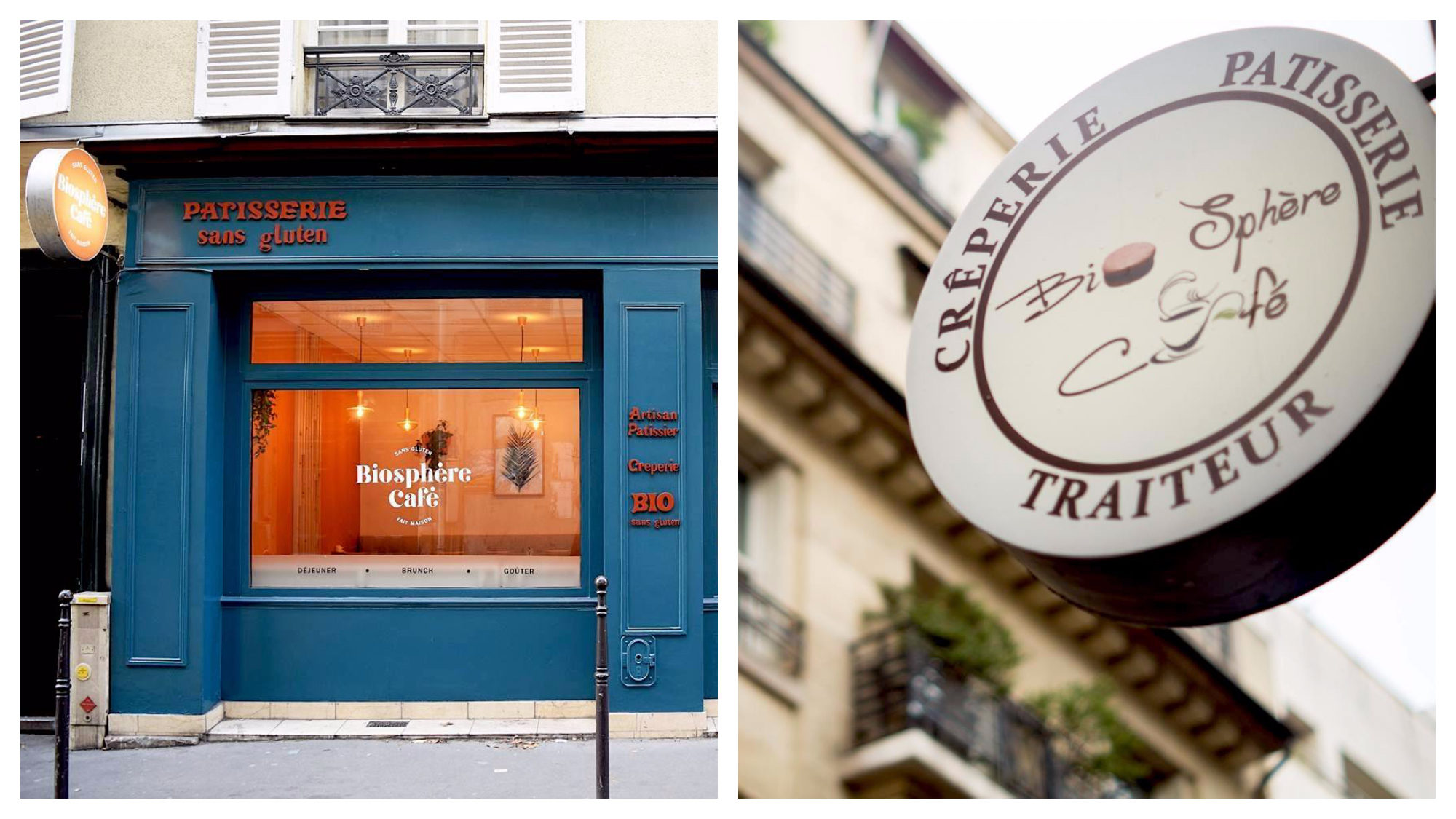 The blue exterior of the gluten-free patisserie in Paris, Biosphere (left) and the sign for gluten-free crepes also at Biosphere (right).