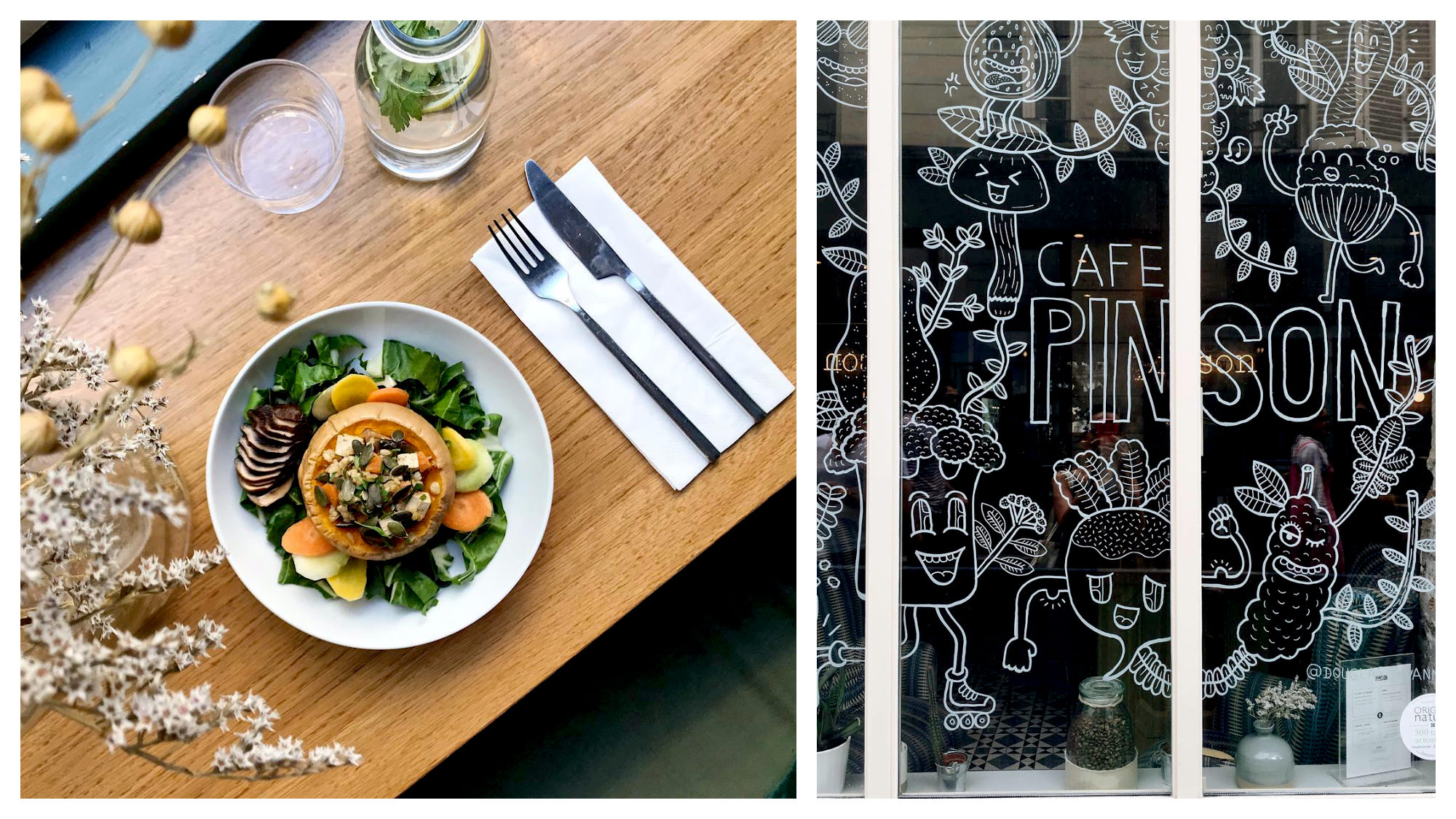 A beautifully presented pumpkin salad with green leaves set down on a wooden table at Café Pinson in Paris (left) and the white cartoon drawings on the café's window (right).