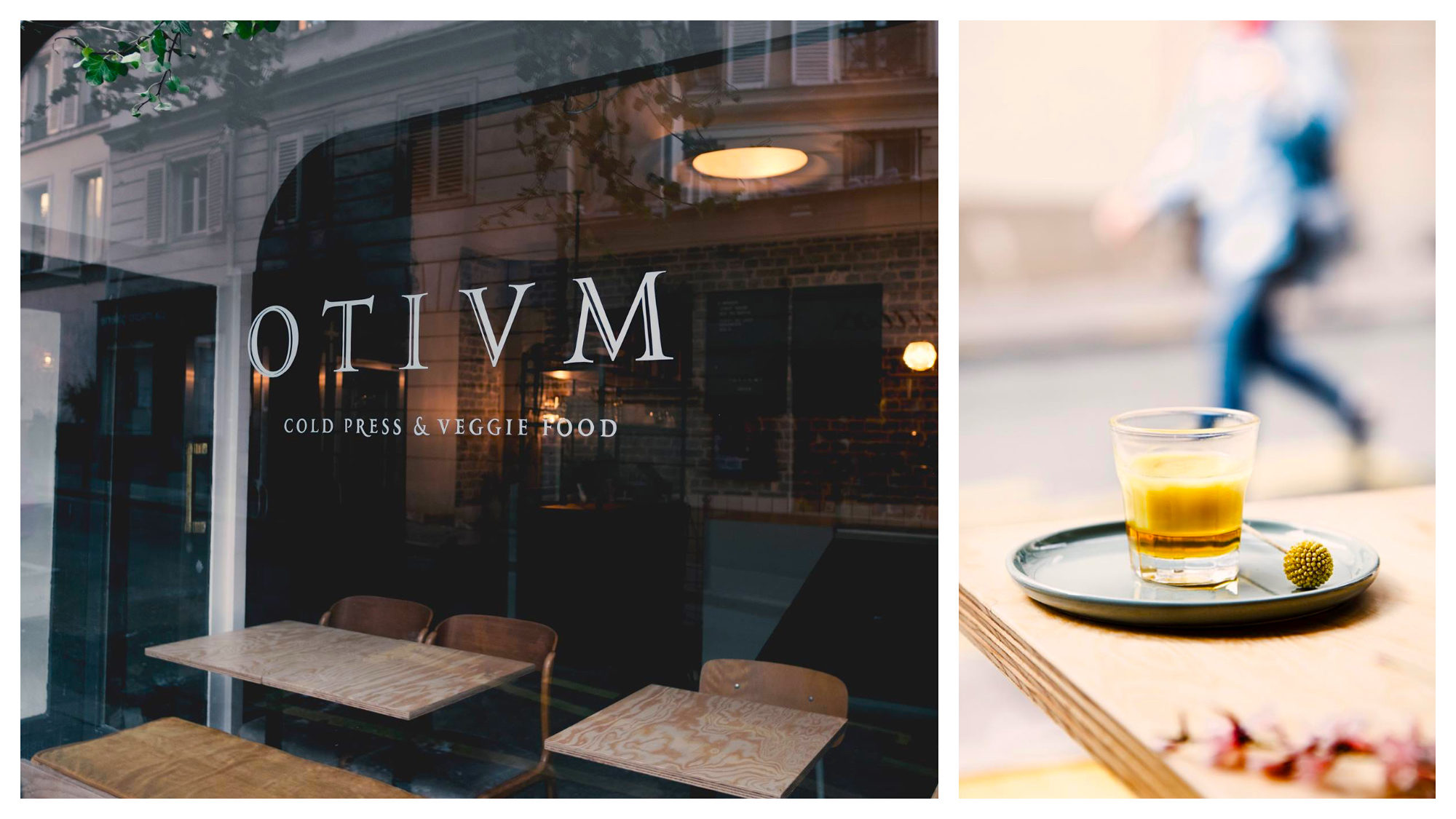 The window at Otium café (left) which specializes in cold-pressed juices (right).