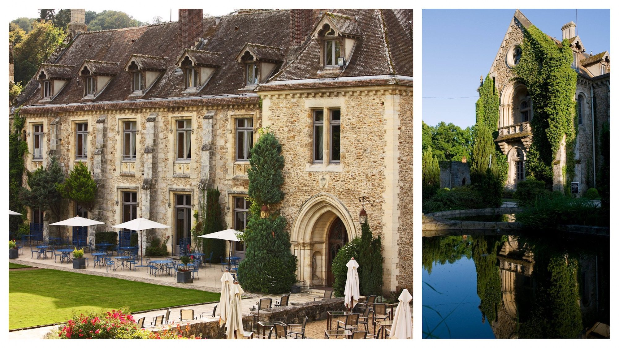 Abbaye des Vaux de Cernay and its back terrace with tables sheltered from the sun with white parasols (left). The abbey's ivy-clad exterior.
