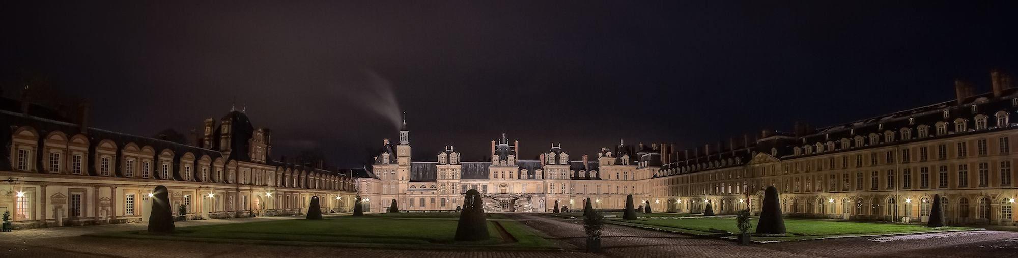 Château de Fontainebleau by night; it's beautifully lit.
