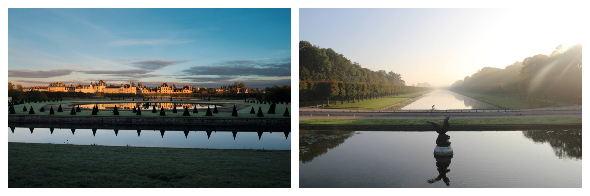 Château de Fontainebleau at sunset with the reflection of the manicured trees in the water (left). The fountain at Château de Fontainebleau in the daytime (right).