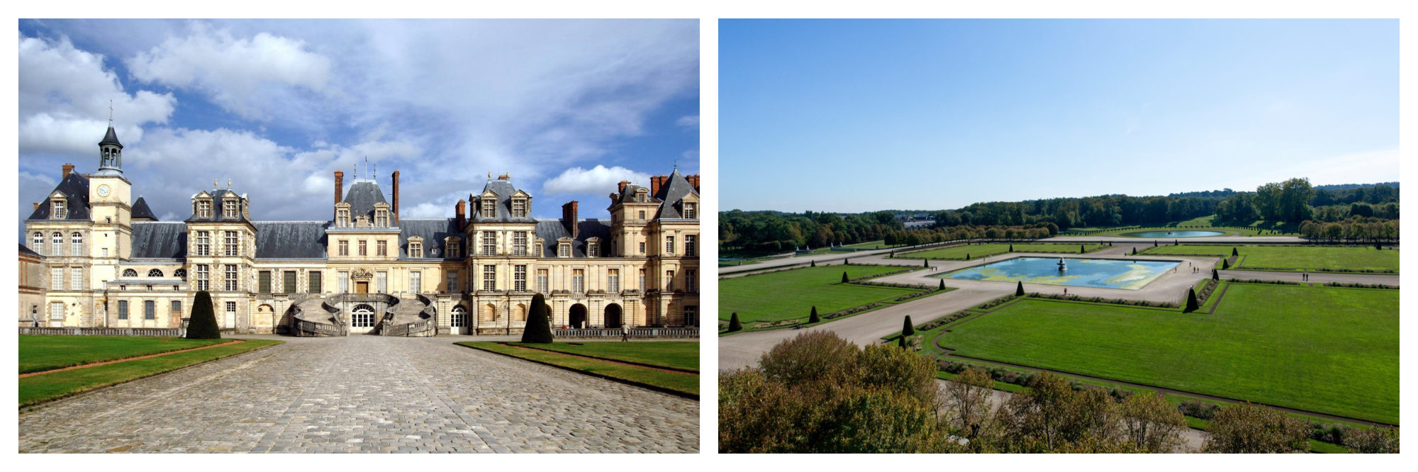 The Chateau de Fontainbleau with its creamy stone and grey roof (left) and its park with numerous water features (right).