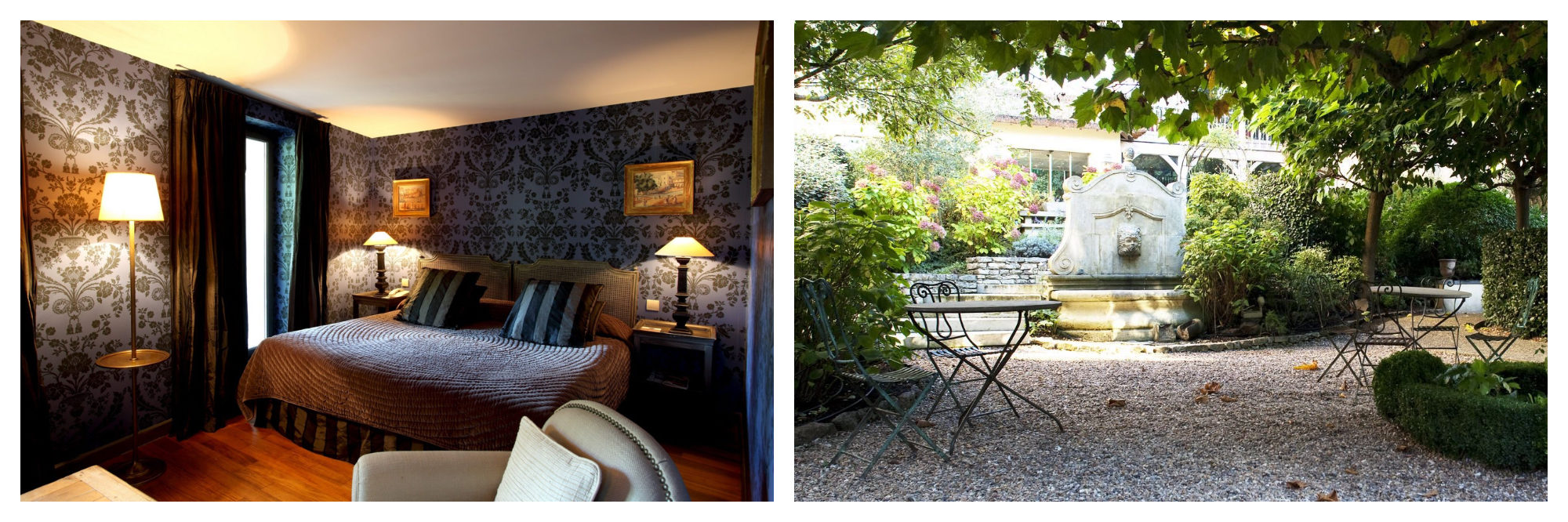 A room at Les Etangs de Corot Hotel with dark printed wallpaper a double bed (left), and the gardens (right).