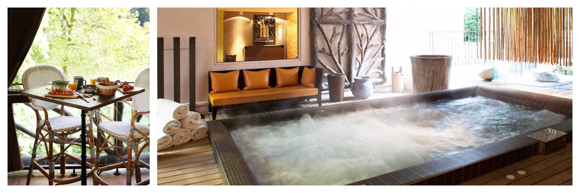Les Etangs de Corot is popular for its Caudalie spa with a semi-outdoor jacuzzi.