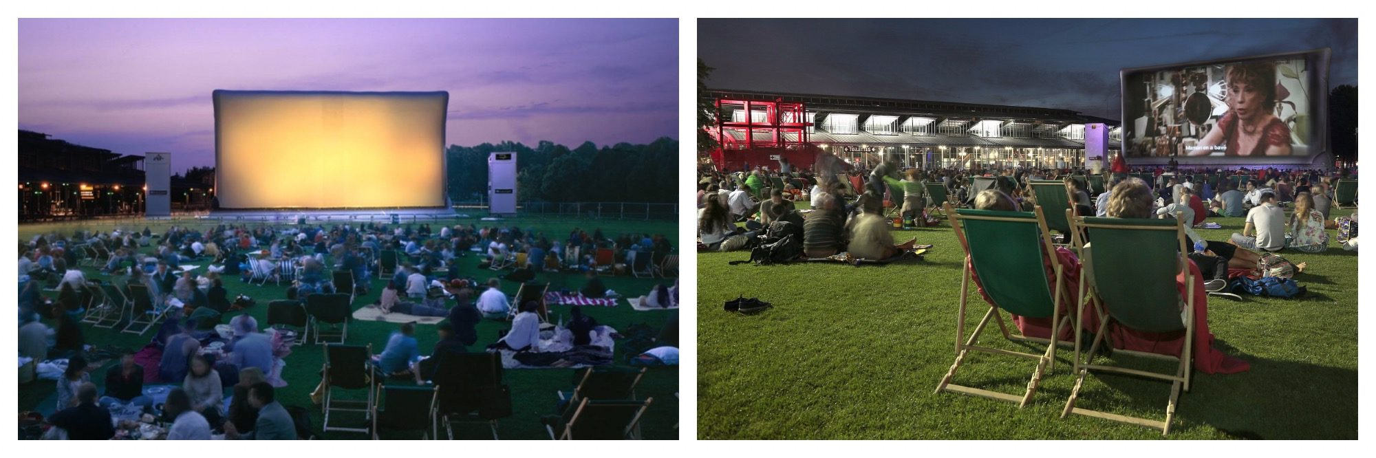 Outdoor cinema with deckchairs in a field in summer in Paris at La Villette.