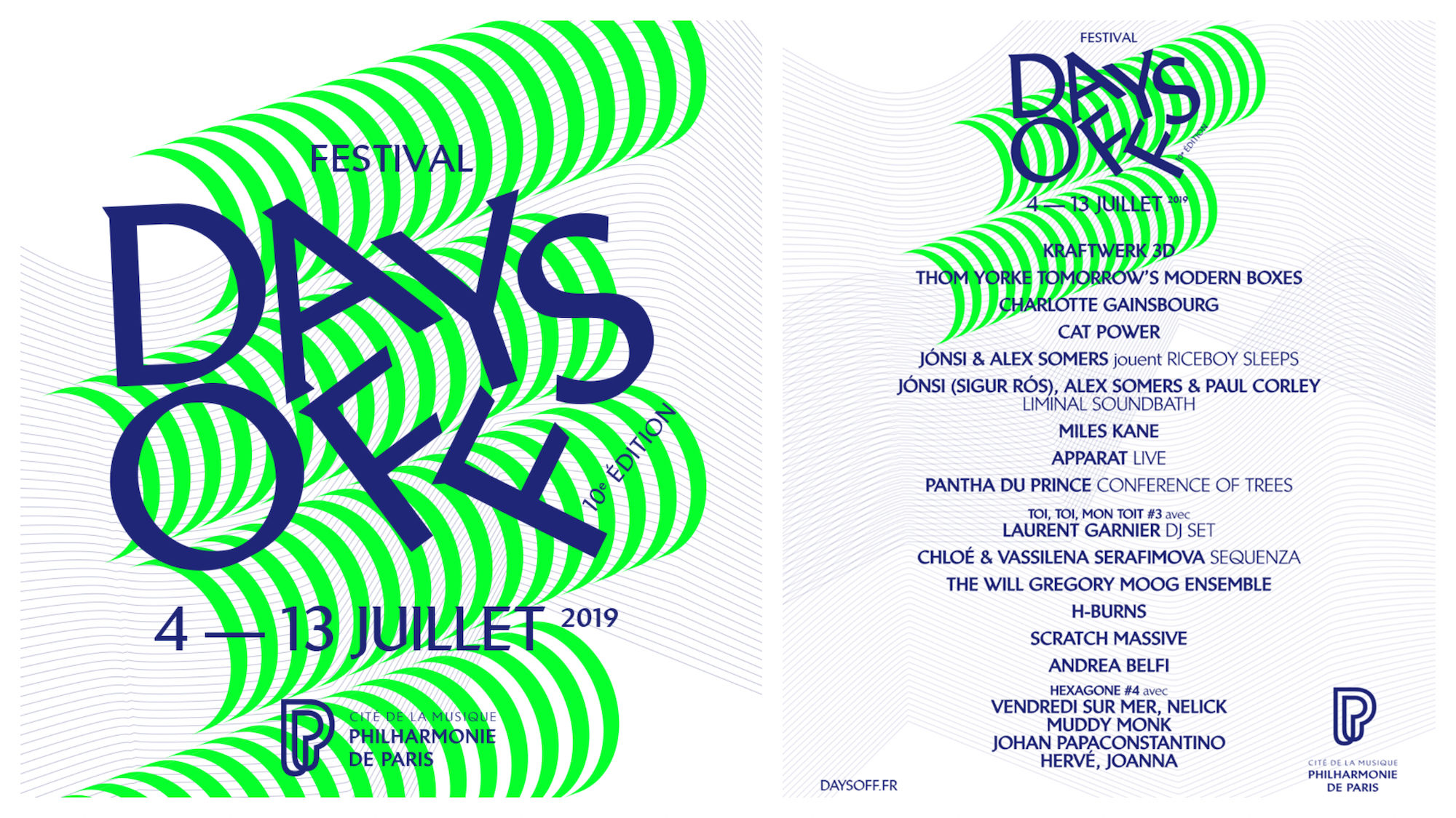A flyer for Days Off festival at the Philharmonie de Paris.