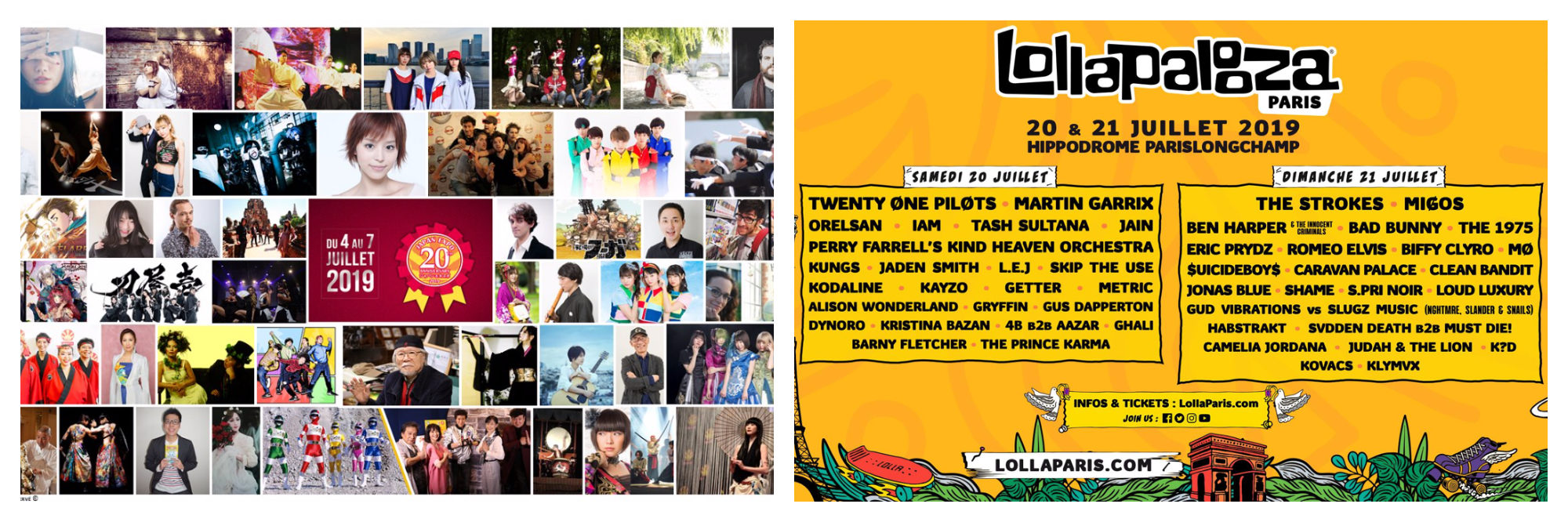 A poster for Japan Expo, a Japanese pop culture festival in Paris (left). A poster with the lineup for Lollapalooza music festival in Paris (right).