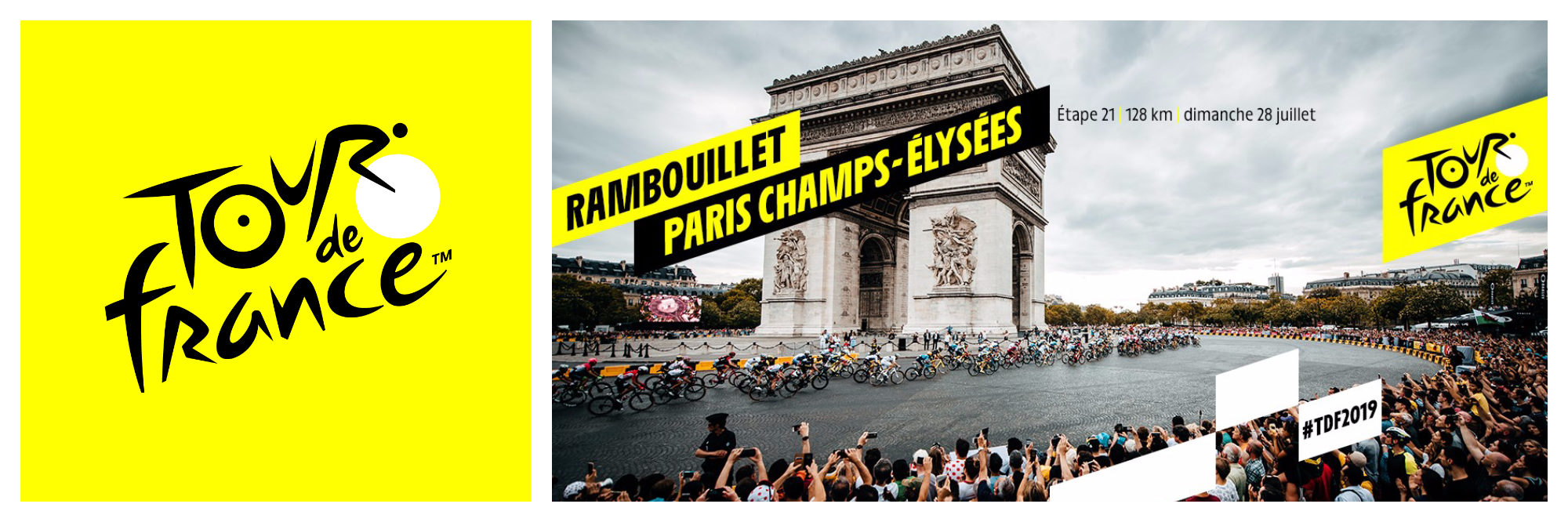 The logo of this year's Tour de France (left) and the crowds that have gathered around the Arc de Triomphe in Paris to cheer on the cyclists as they set off (right).