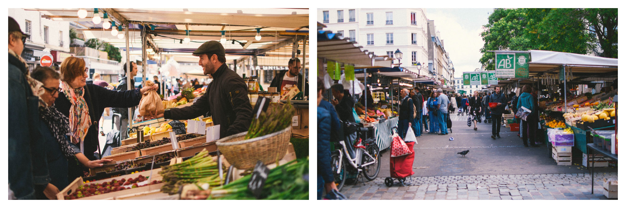 A vegetable stall at the Bastille market in Paris (left). The stalls at the Bastille fruit and vegetable market (right).