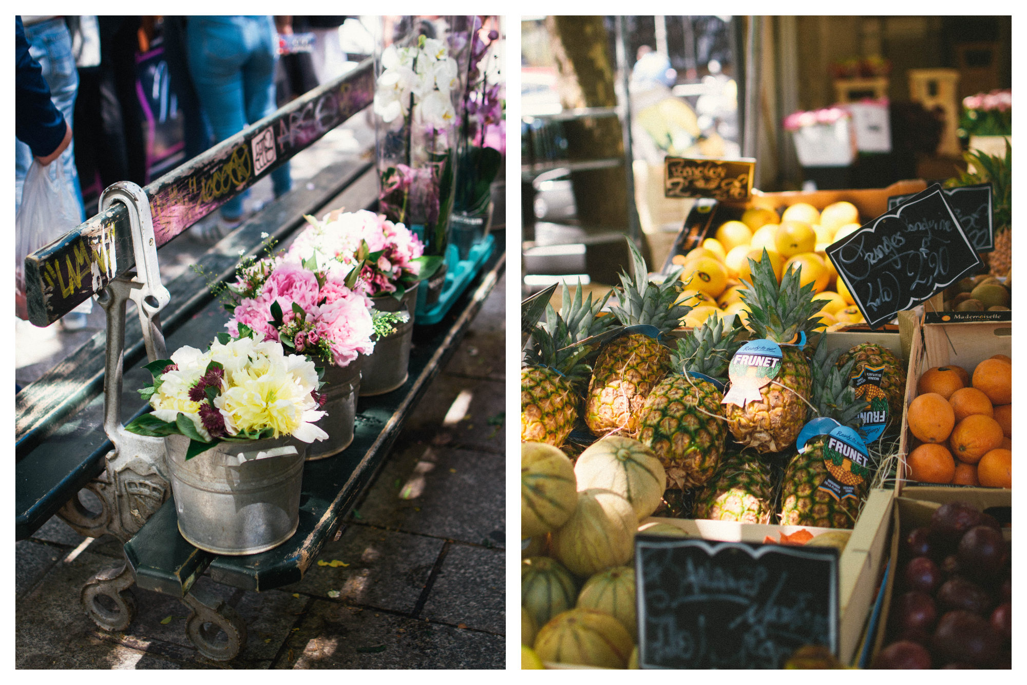 Paris neighborhood markets sell everything from flowers like these beautiful bouquets lined up on a bench  (left) to exotic fruit like pineapples (right).