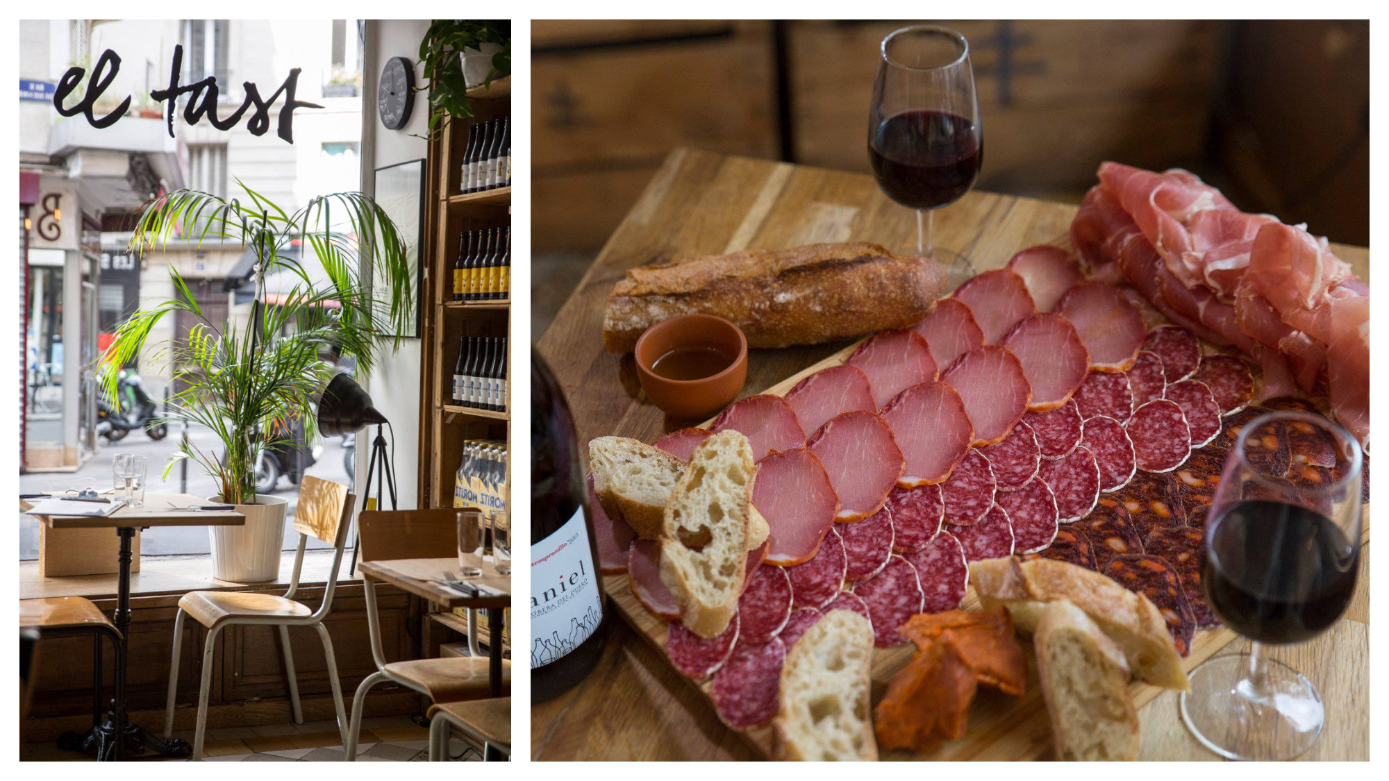 The wooden tables and chairs at El Tast restaurant in Paris (left) and a ham board with crusty baguette and red wine at El Tast (right).