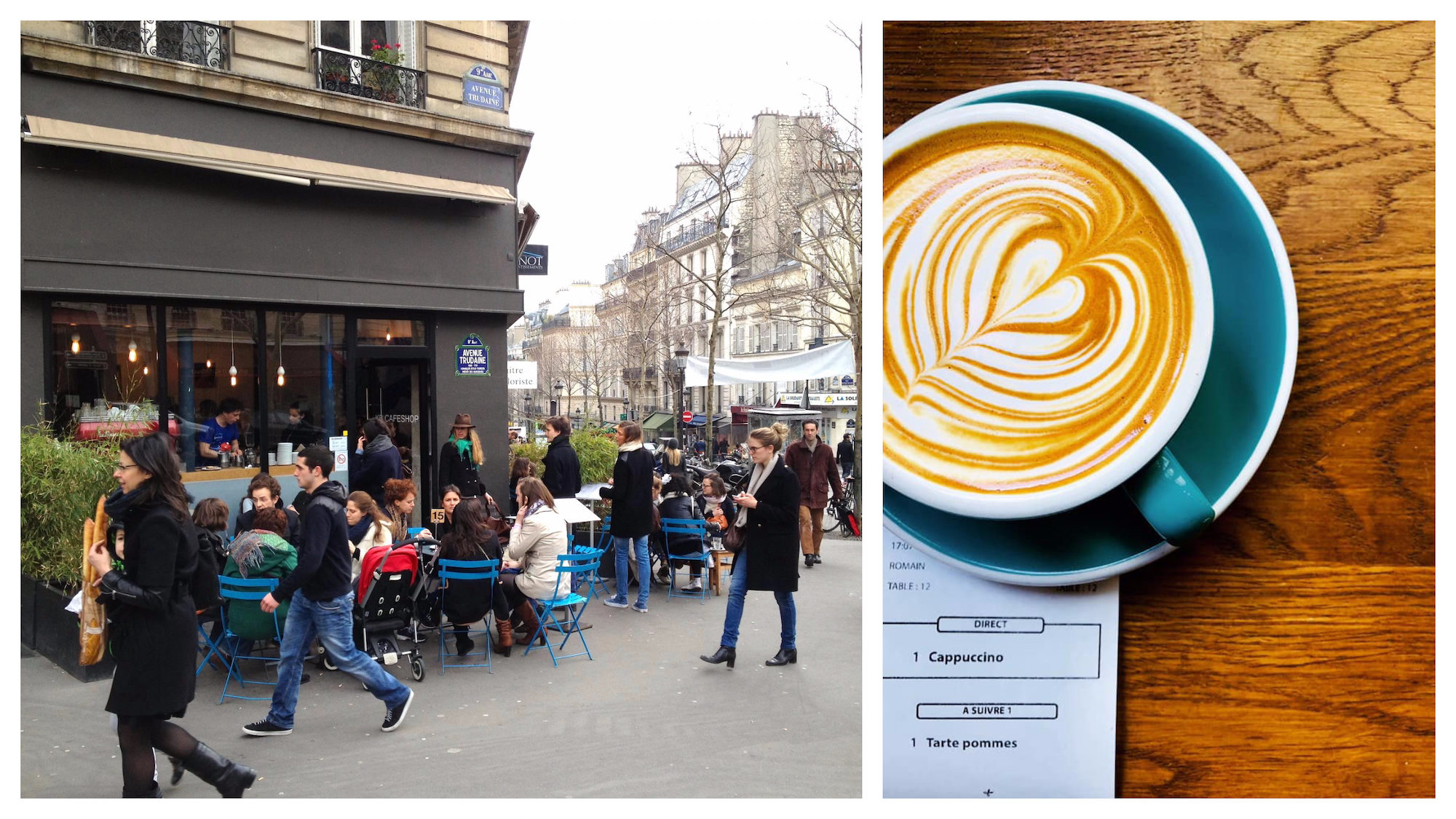 The terrace (left) and latté with creamy swirls in a blue cup on a wooden table (right) at KB Coffee Shop in Paris.