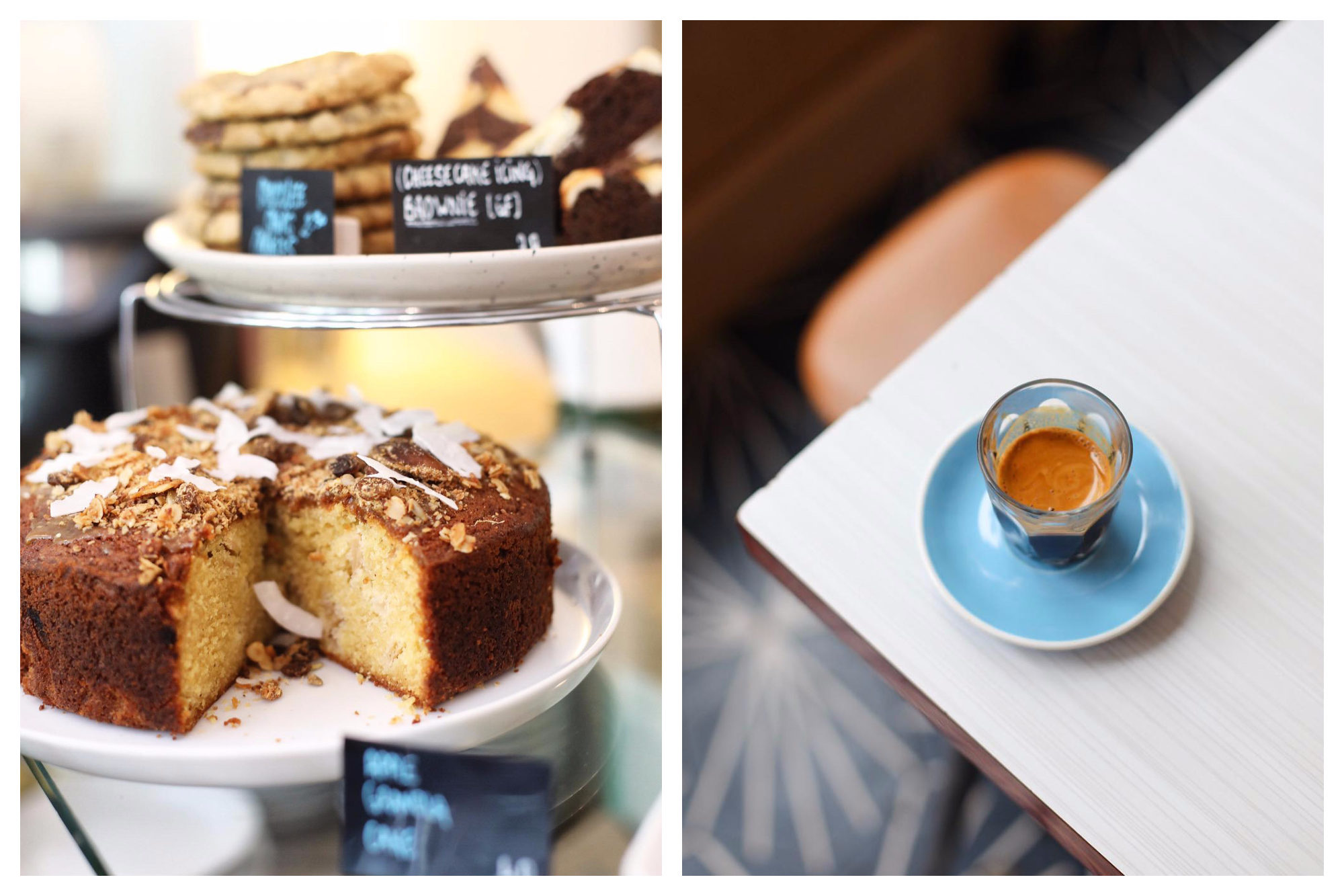 A spongy cake and cookies (left) and espresso coffee on a blue saucer set on a table (right) at Neighbours coffee shop in Paris.