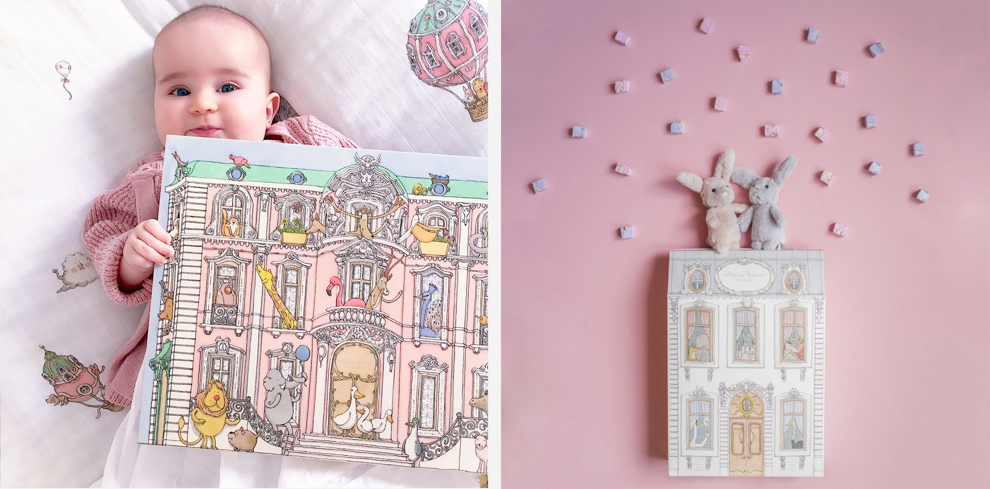 Parisian brand Atelier Choux's toy houses and bedsheets for children to match.