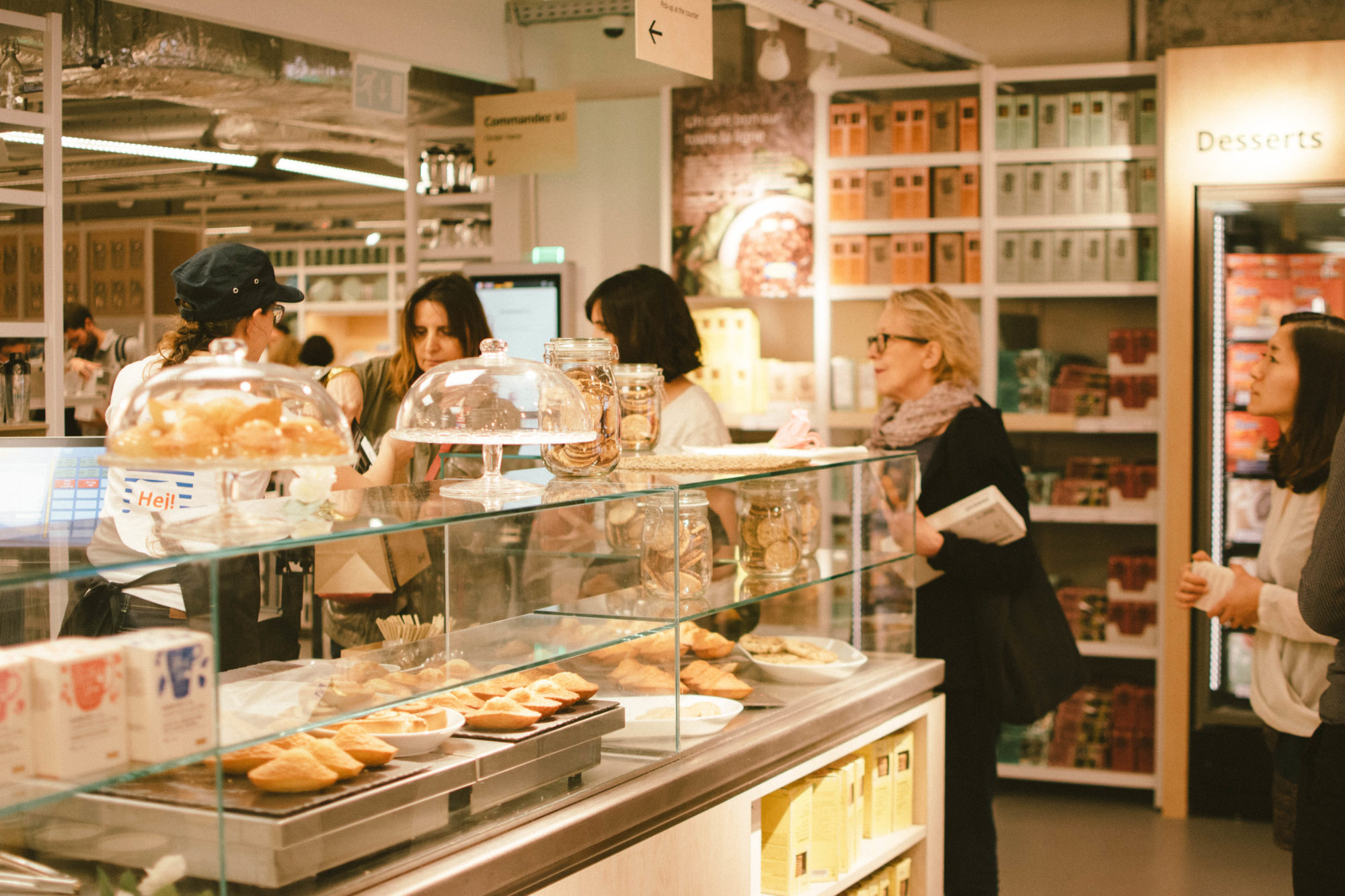 Customers waiting in line at the boulangerie counter at IKEA Paris La Madeleine