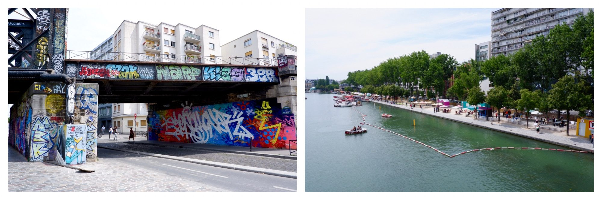 The colorful graffiti along the canals up in the 19th arrondissement of Paris along the canal (left) and the canal lined by a makeshift beach (right).