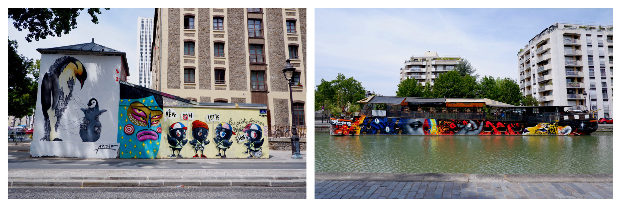 The bold and colorful street art along the canal (left) even extends to the barges (right), creates a unique ambiance.