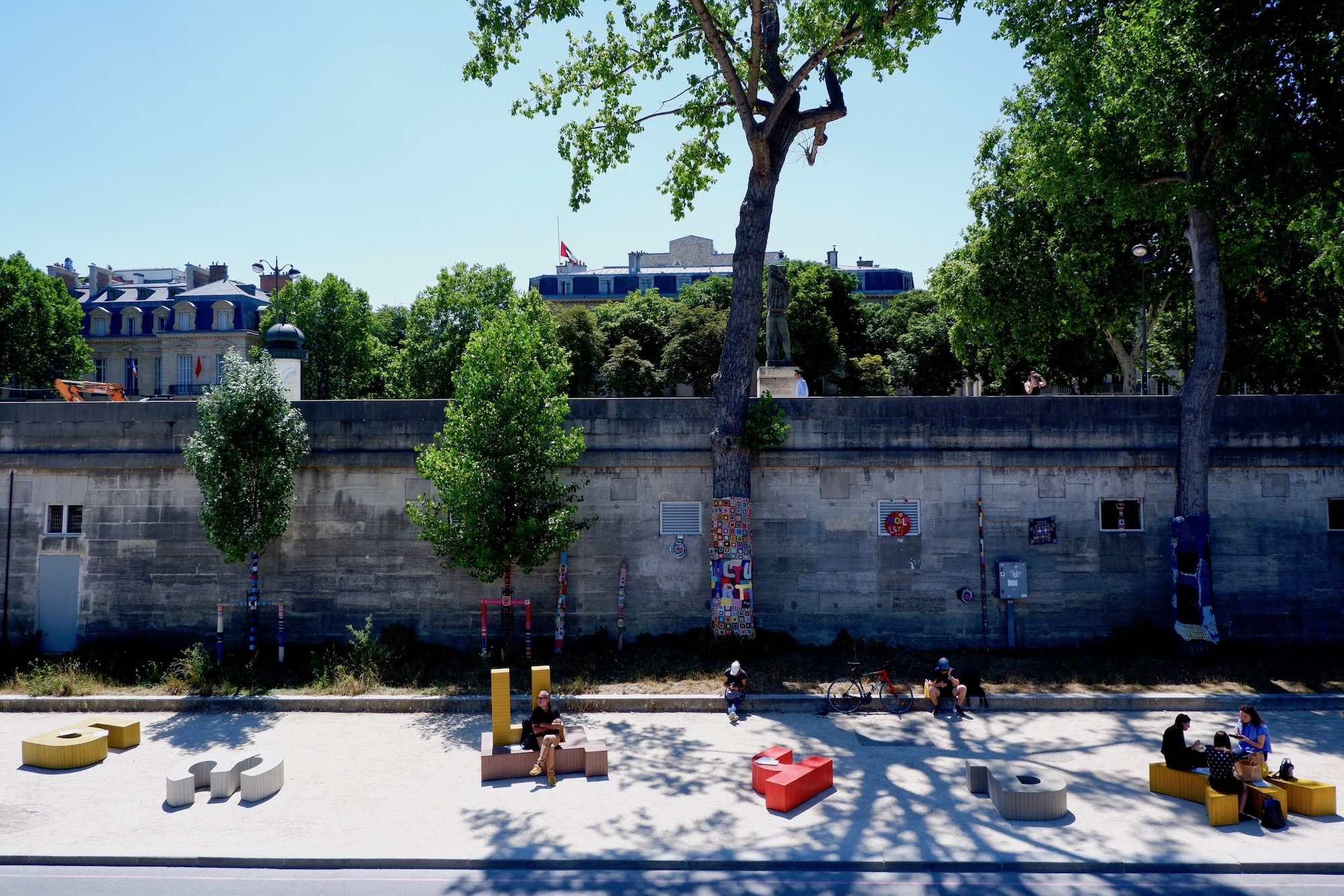The banks of the River Seine as seen from new street art center Fluctuart in Paris.