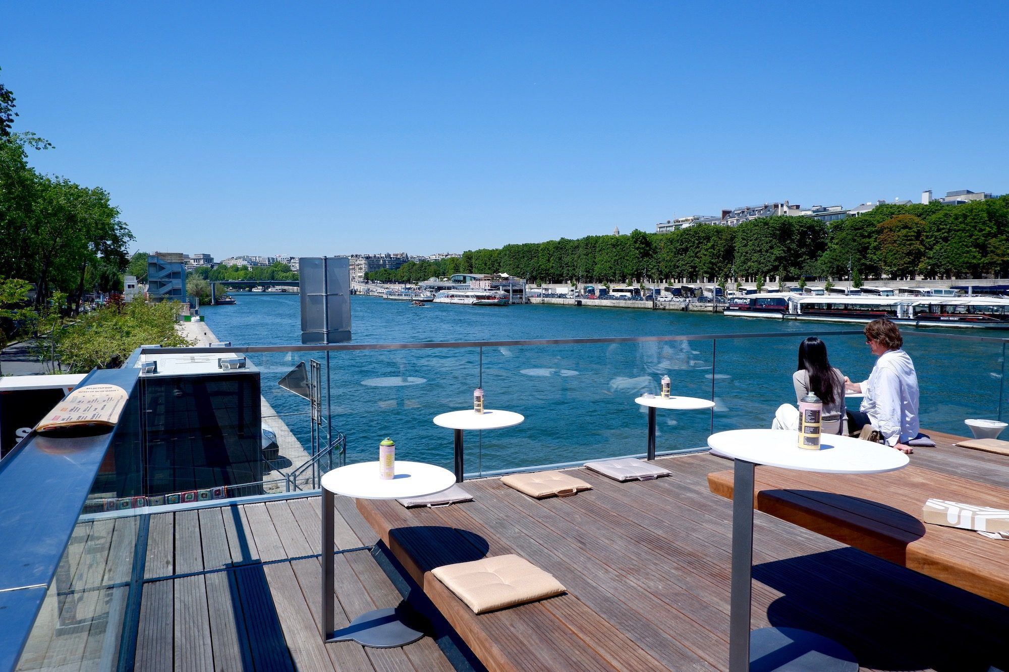 View of the River Seine in summer from the terrace of Fluctuart art center in Paris.
