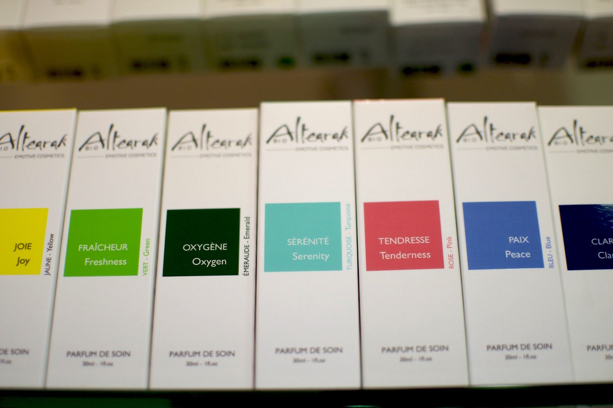 Altearah Bio perfumes are color-coded to match your need and mood.