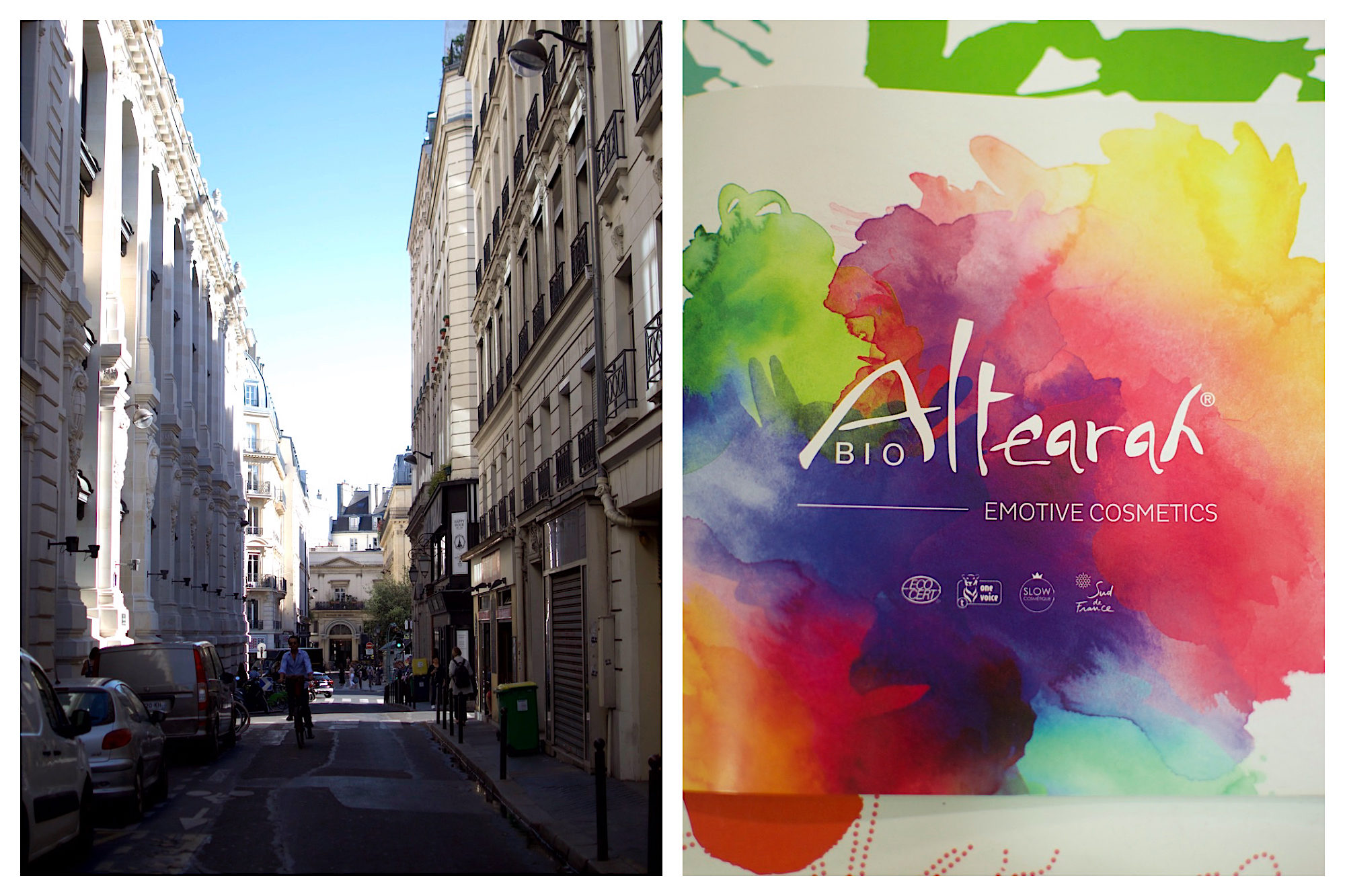 A view of a Paris street (left). The colorful label of Altearah Bio perfume (right).