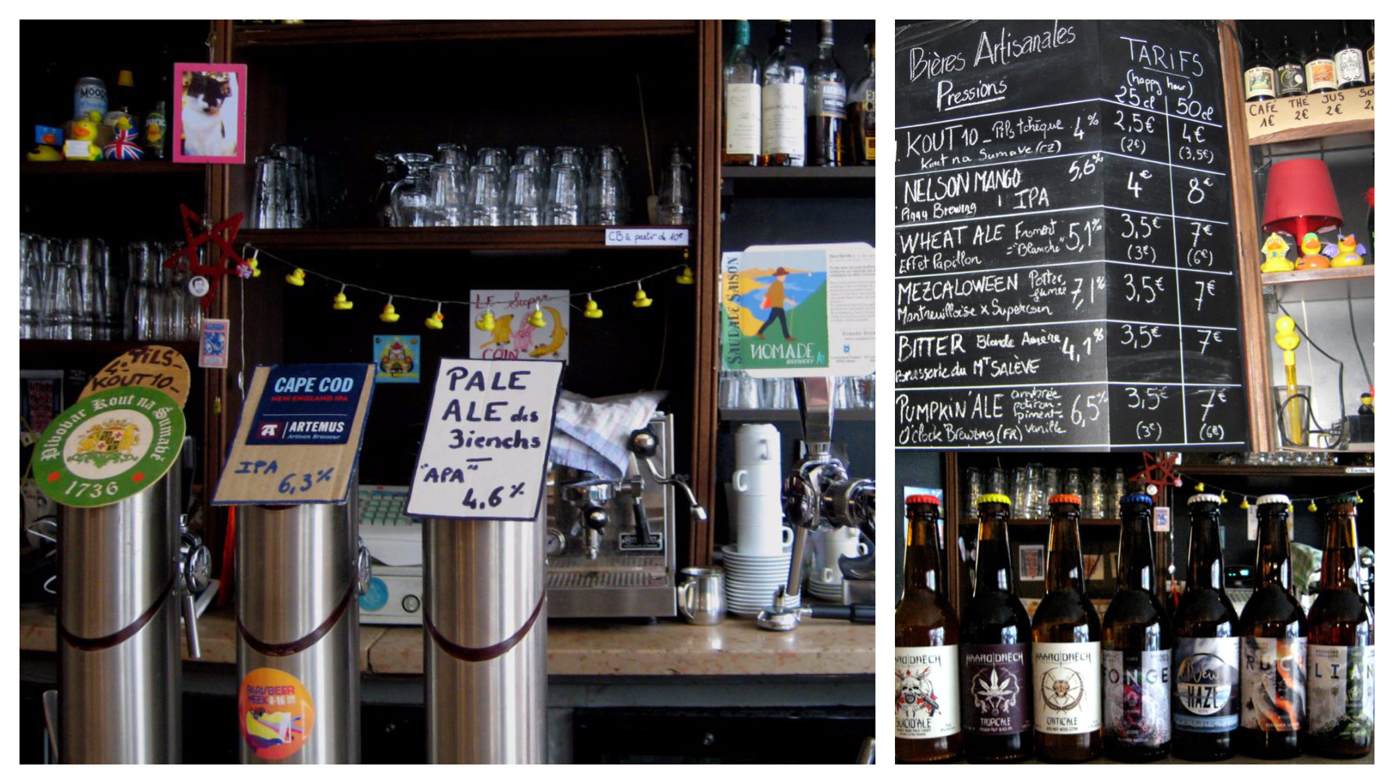 The counter with the beers on tap at craft beer shop and bar (left) and a selection of bottles (right) Supercoin in Paris.
