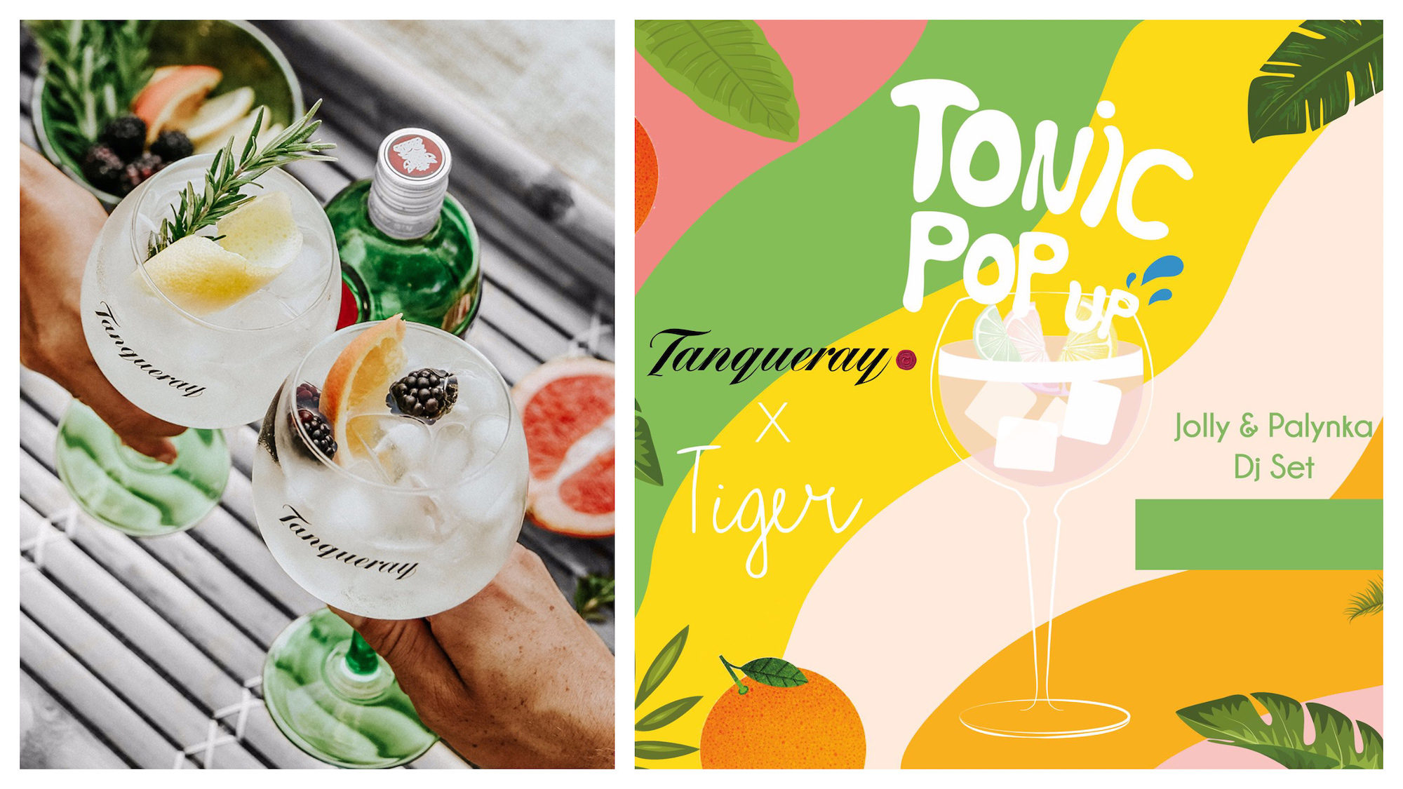 Two glasses of Tanqueray with fresh and fruity cocktails (left) and a poster for Tanqueray's event at Tiget cocktail bar in Paris this summer (right).