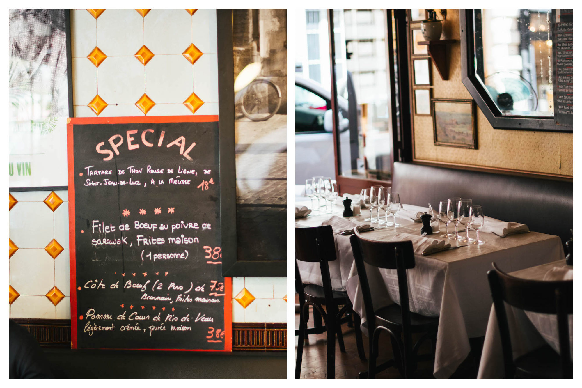 A specals' board outside the Bistrot Paul Bert in Paris (left). The leather banquettes and tables at the Bistrot Paul Bert with white tablecloths in Paris' 11th neighborhood (right).