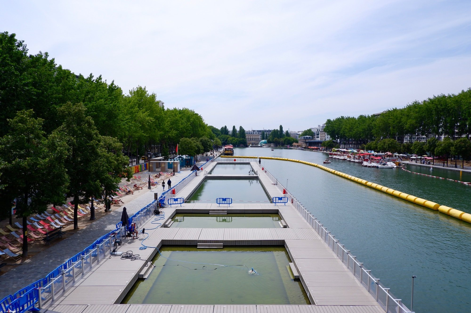The canal pools at Paris Plages on the Canal de l'Ourcq.