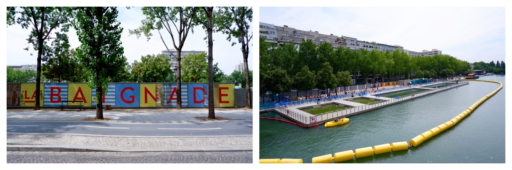 The words 'La Baignade' (bathing area) painted on the fence of Paris Plages on the Canal de l'Ourcq (left) and the canal pools where people can swim in summer (right).
