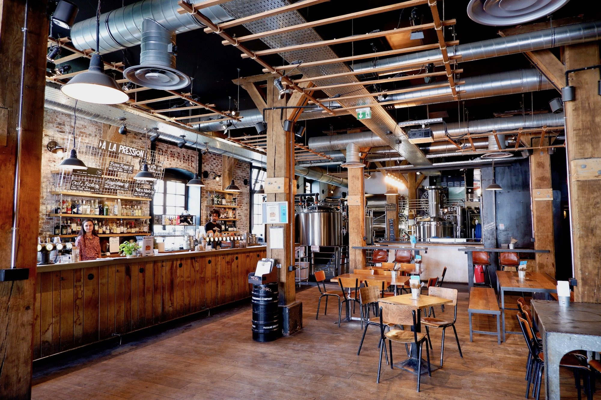The industrial interiors of Paris Brewing Company on the Canal de l'Ourcq.
