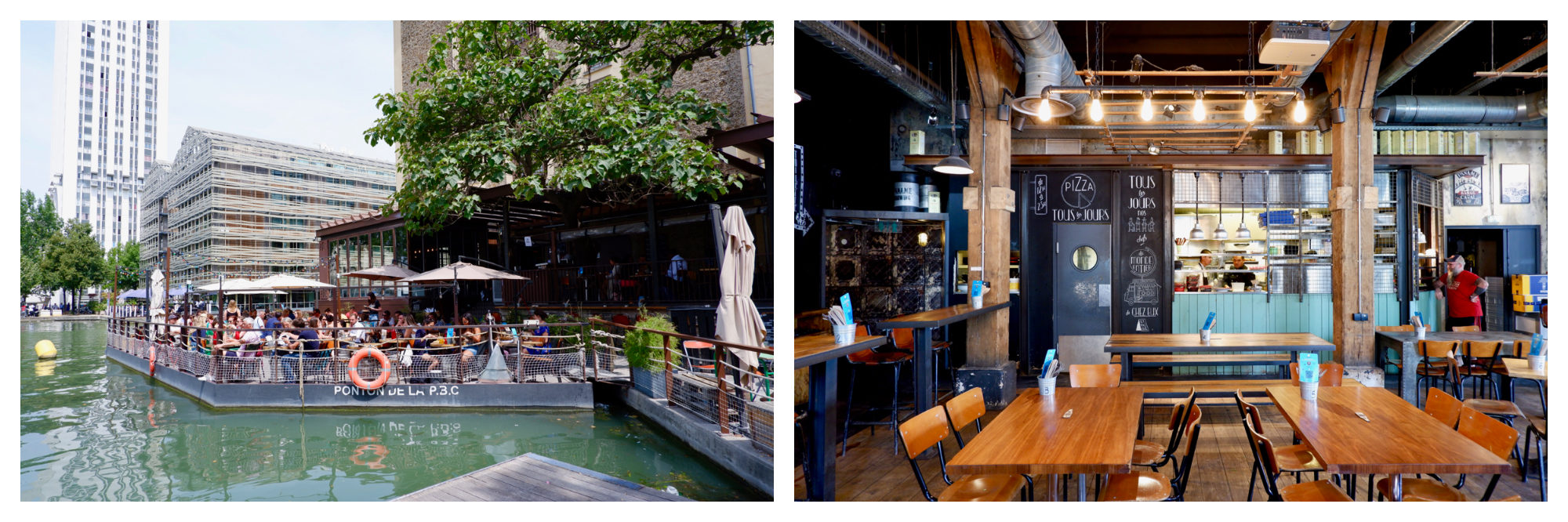 The terrace reaching out across the water of the Canal de l'Ourcq at the Paname Brewing Company in Paris on a sunny summer's day (left). The industrial interiors of Paris Brewing Company on the Canal de l'Ourcq (right).