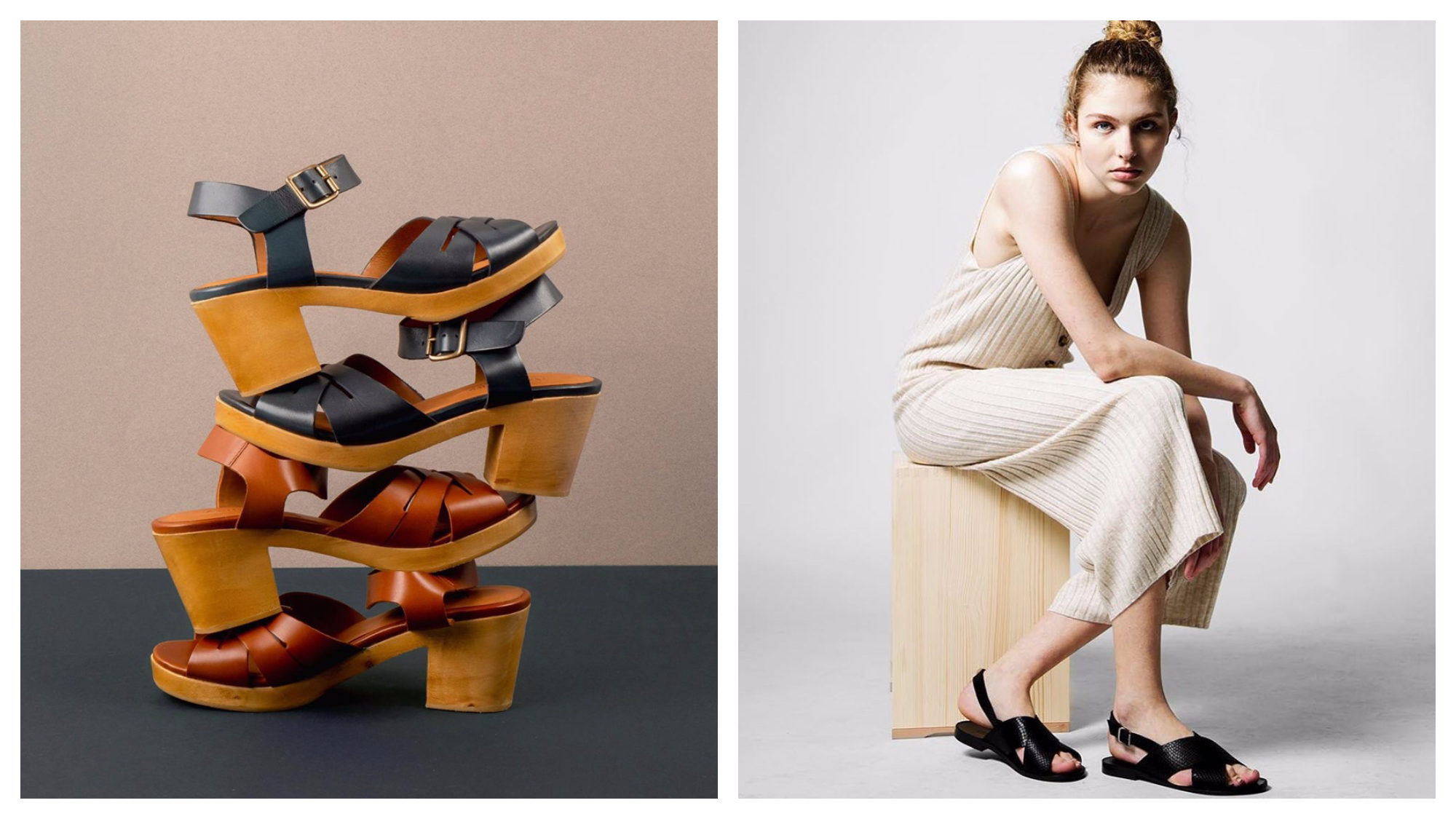 Anthology Paris leather sandals stack up against a grey and taupe background (left) and a flat version worn by a model sitting on a wooden stool (right).