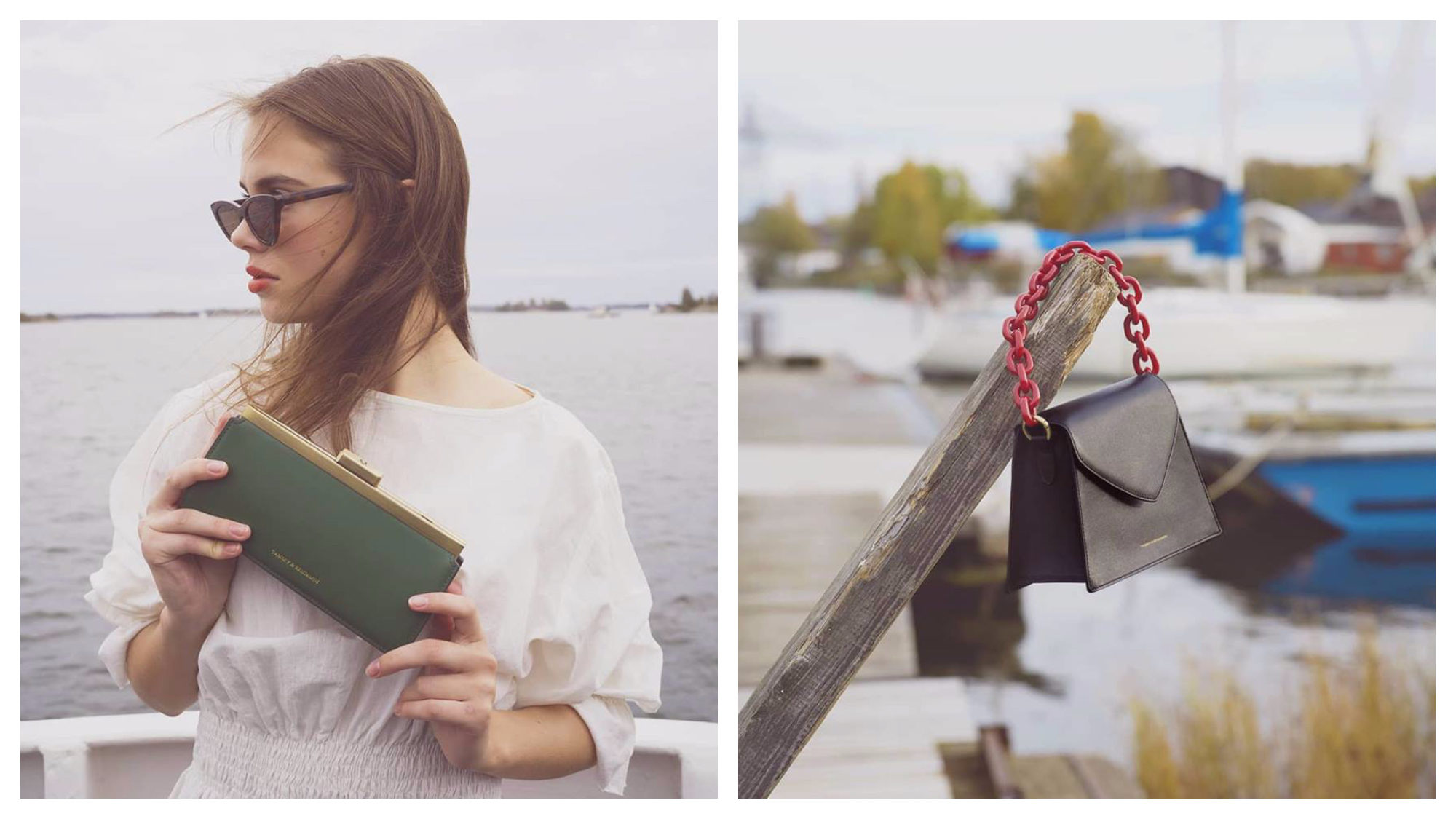 A sea green clutch purse held by a model wearing a white dress at the seaside (left) and a black handbag with a red chain hooked on a piece of timber at a port (right), both by Tammy and Benjamin.