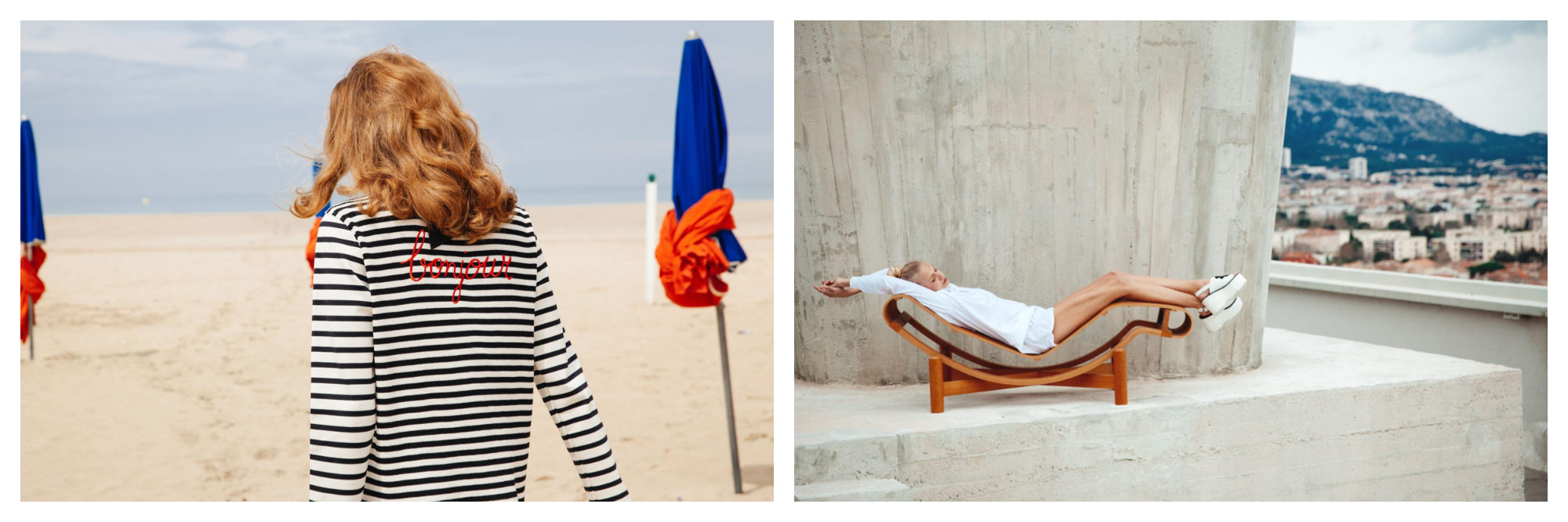 A stripy 'Bonjour' long-sleeved t-shirt worn by a woman walking on Deauville beach (left). A woman wearing a white outfit and platform shoes stretched out on a curved lounger close to a concrete structure with a town in the background (right), both from French fashion brand JOUR/NE.