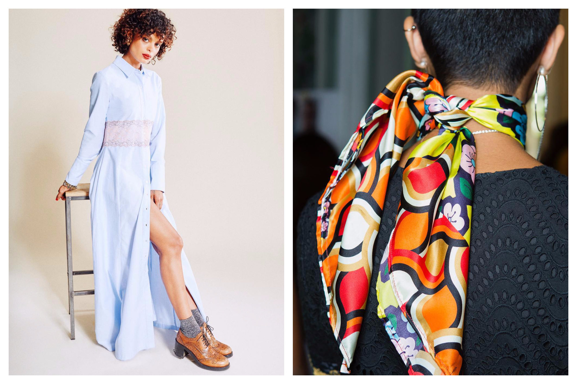A summer shirt-dress outfit (left). A woman with short hair from the back, wearing a colorful orange-patterned silk scarf (right) by French fashion brand JOUR/NE.
