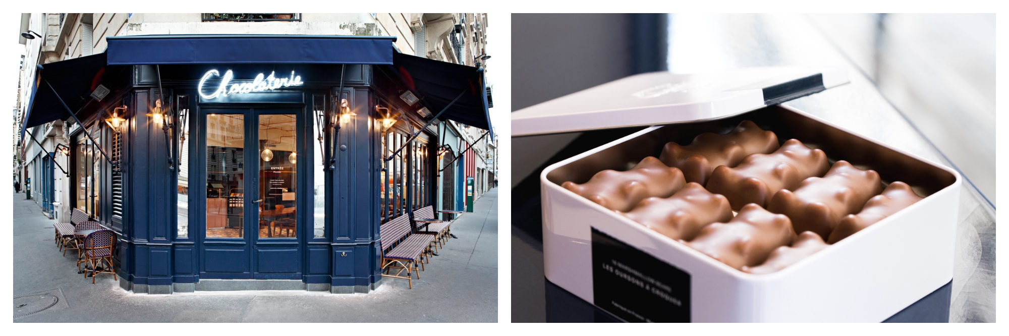 La Chocolaterie's blue exterior with neon sign in Paris 11 (left). Chocolate bears in a box (right).