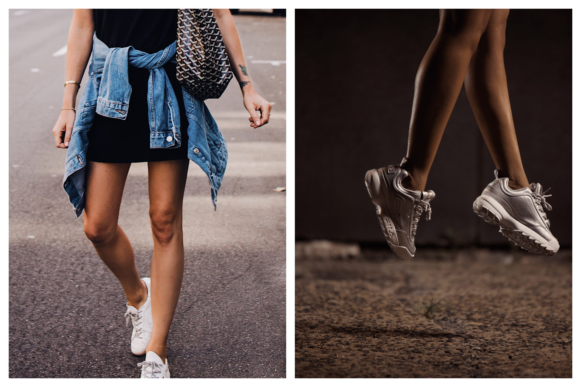 A woman in summer wearing a Goyard bag in Paris (left). A woman jumping up, only her legs and white 'dad shoe' trainers are visible (right).