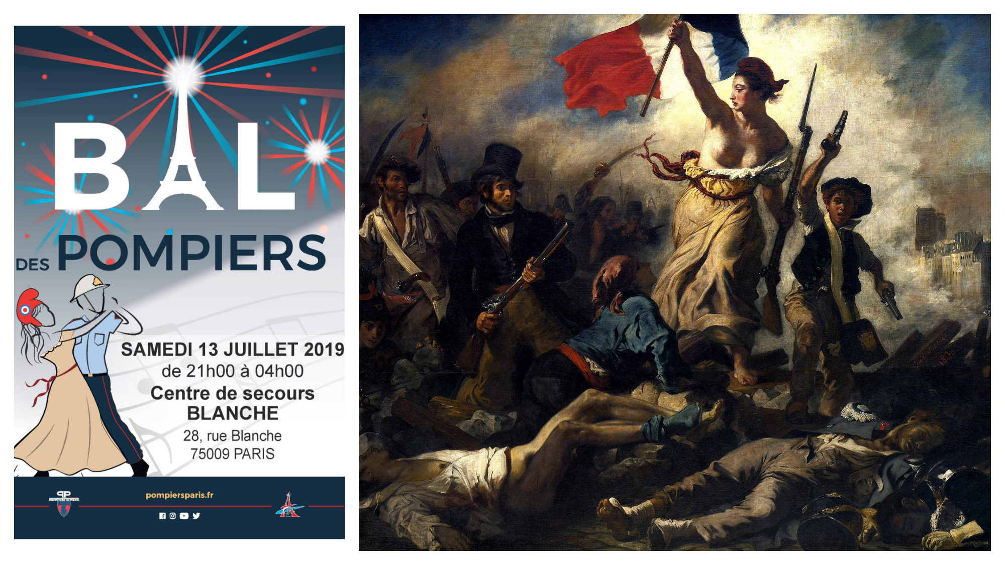 A poster for a Bal des Pompiers on Bastille Day (left). A painting depicting a scene of the French Revolution (right).