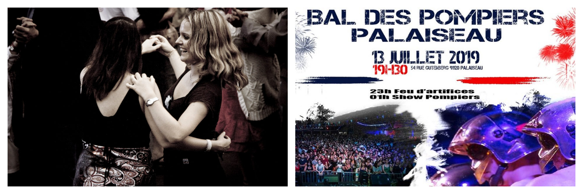 Two women dancing at a firemen's ball for Bastille Day (left). A poster for a Bal des Pompiers (right).
