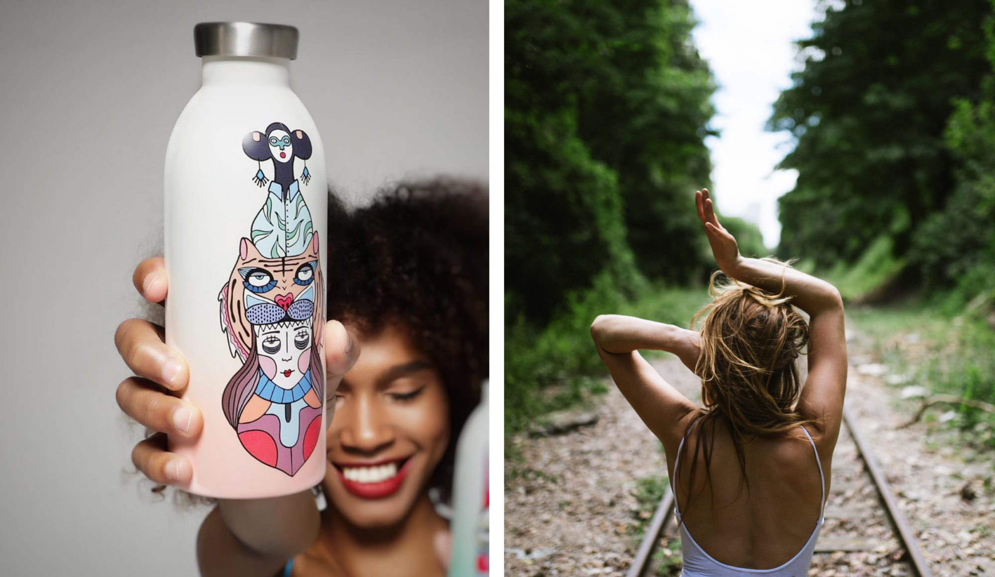 A custom designed water bottle by 24 Bottles for cutting own on plastic use, held up by influencer Elena Salmistraro (left). A young woman seen from the back feeling the heat of Parisian summer as she walks on the Petite Ceinture railway in Paris (right).